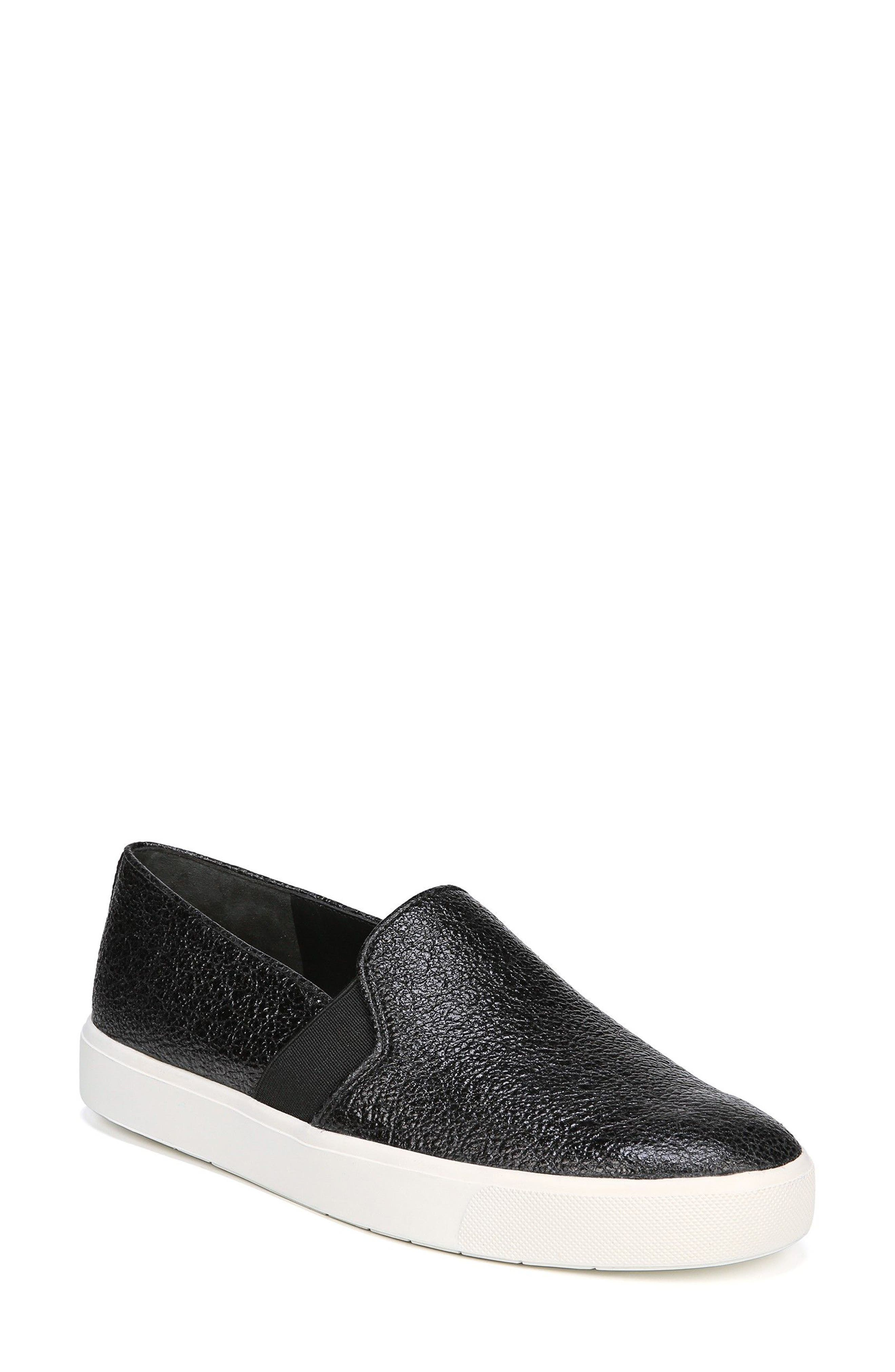 'Blair 12' Leather Slip-On Sneaker,                         Main,                         color, BLACK LEATHER