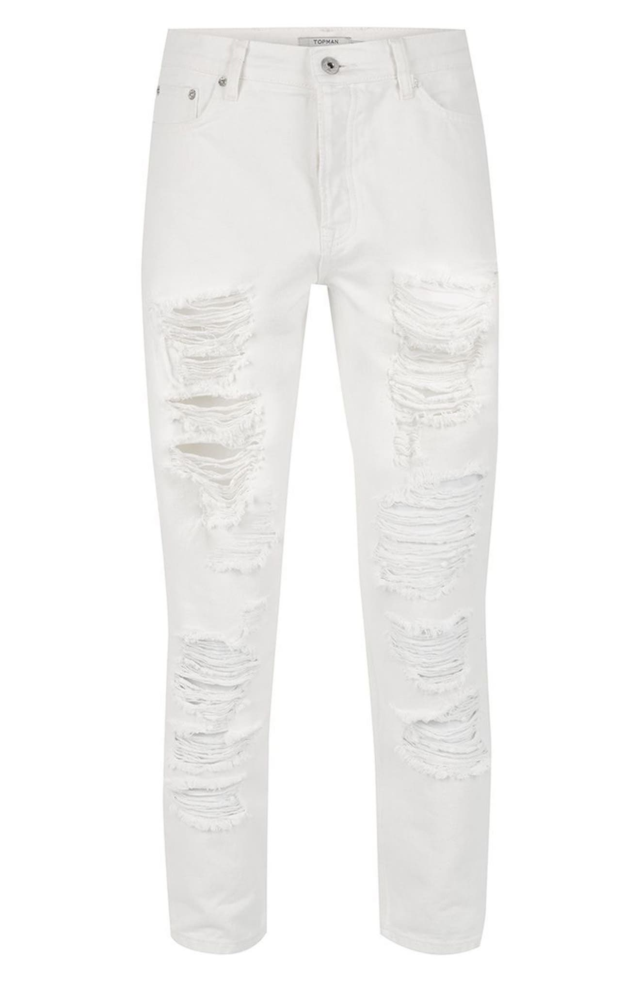 Extreme Ripped Tapered Fit Jeans,                             Alternate thumbnail 4, color,                             WHITE