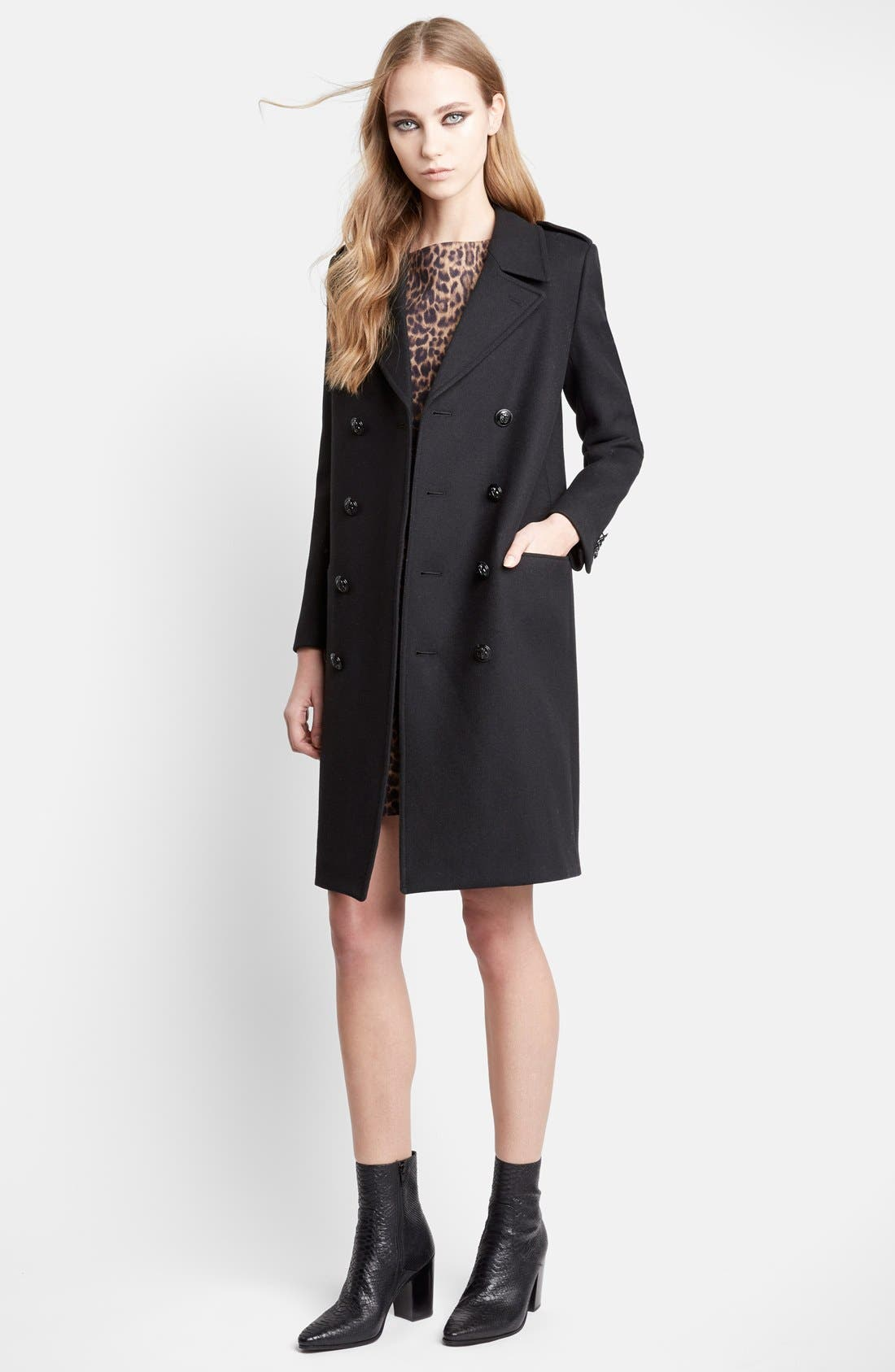 Double Breasted Wool Chesterfield Coat,                             Main thumbnail 1, color,                             001