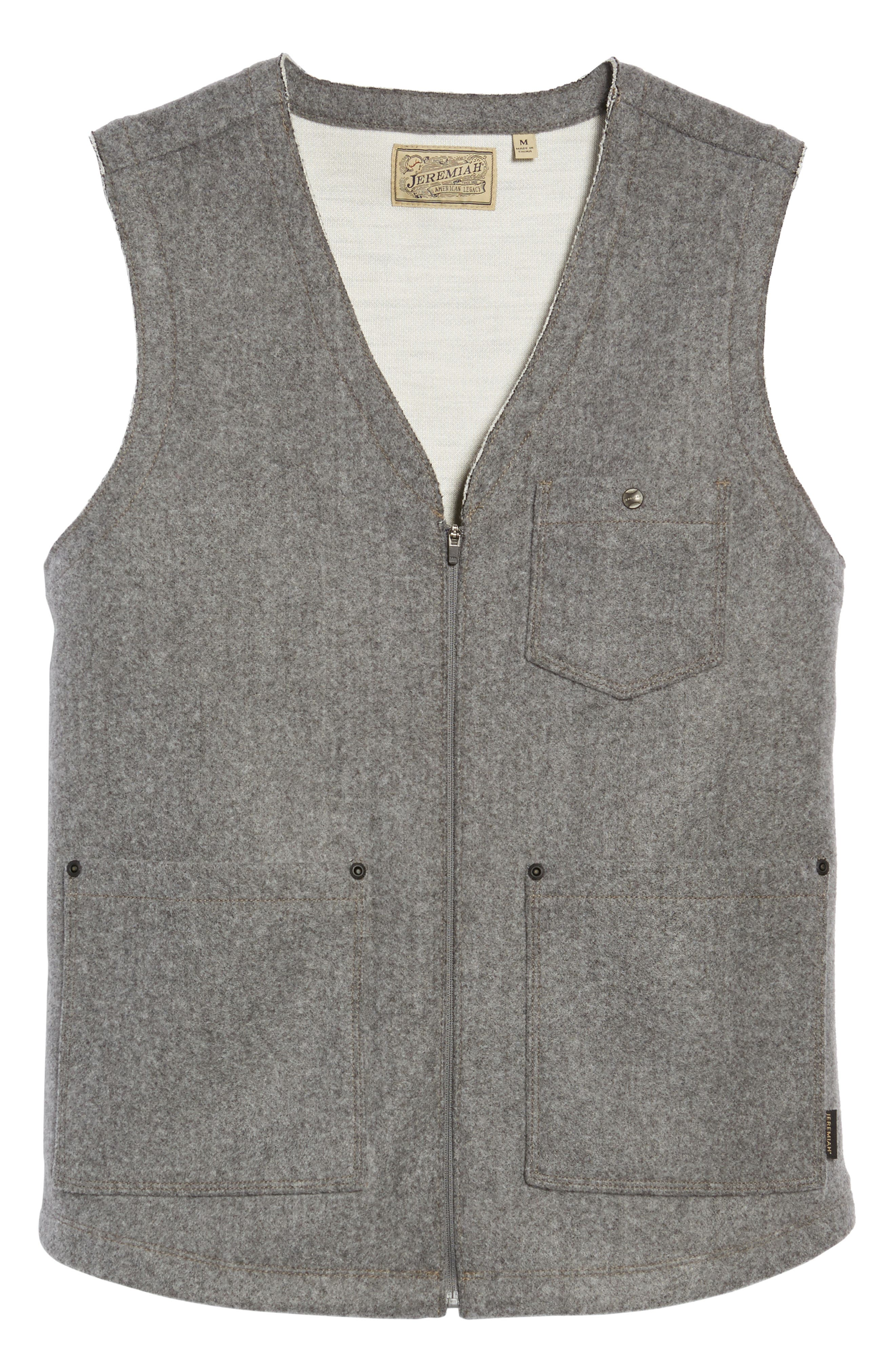 Cambria Heathered Zip Vest,                             Alternate thumbnail 5, color,                             SMOKED PEARL