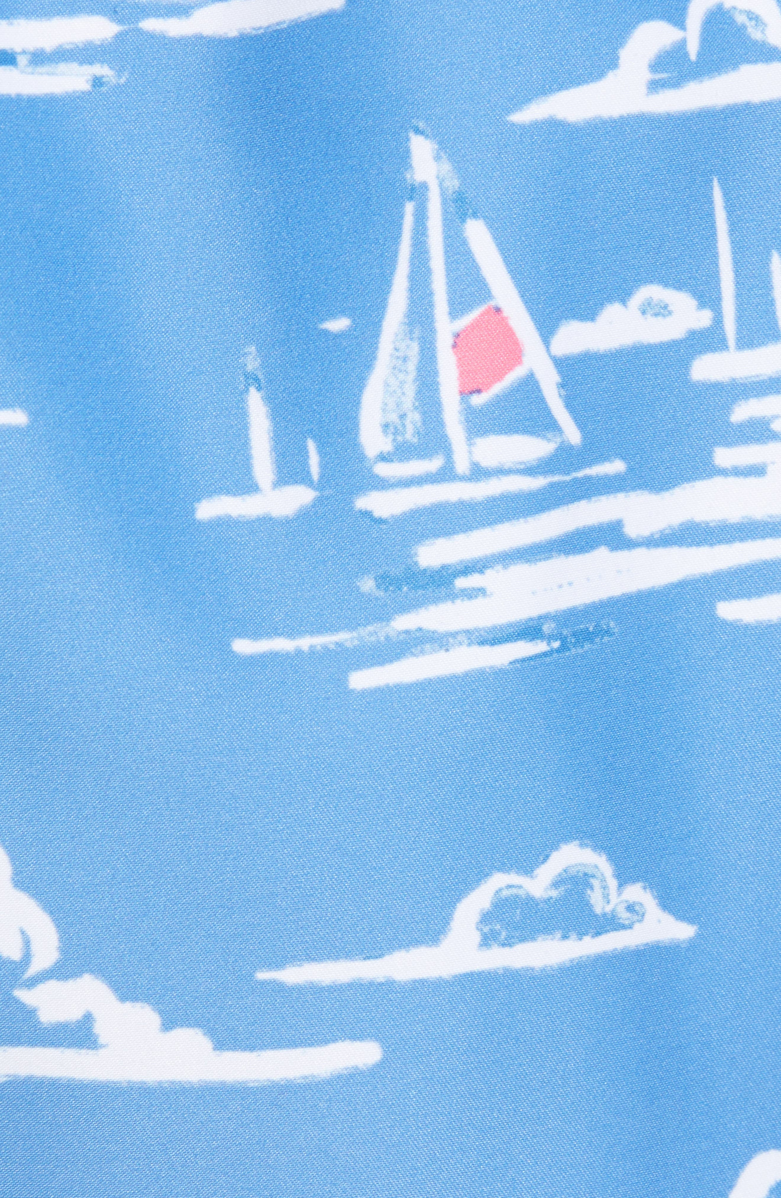 Chappy Sailing Scene Swim Trunks,                             Alternate thumbnail 5, color,                             CORNFLOWER