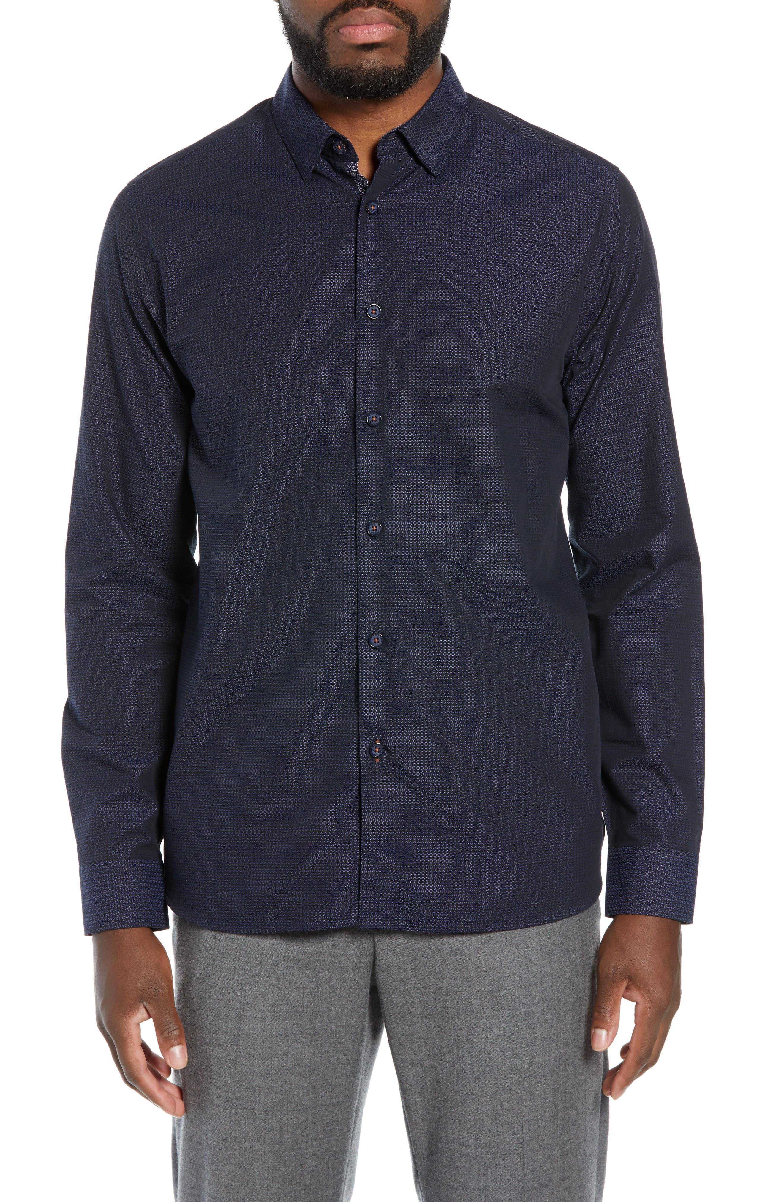 Myll Slim Fit Jacquard Sport Shirt,                             Main thumbnail 1, color,                             NAVY