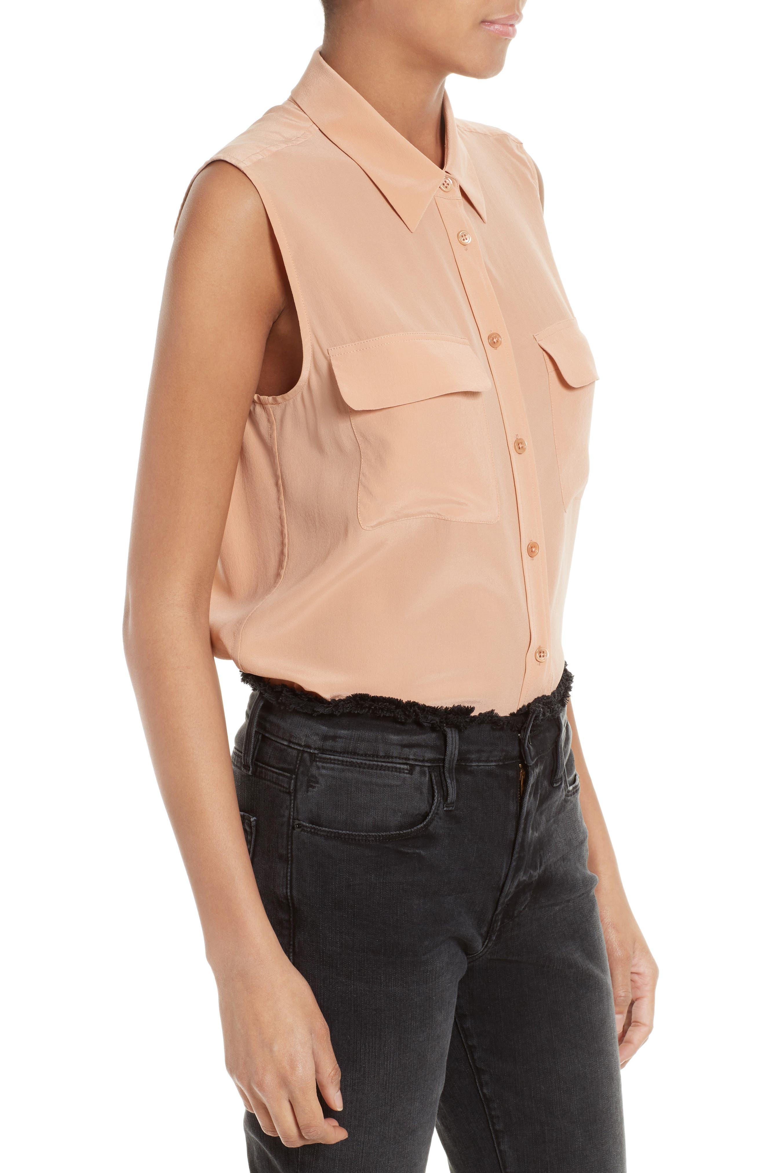 'Slim Signature' Sleeveless Silk Shirt,                             Alternate thumbnail 143, color,