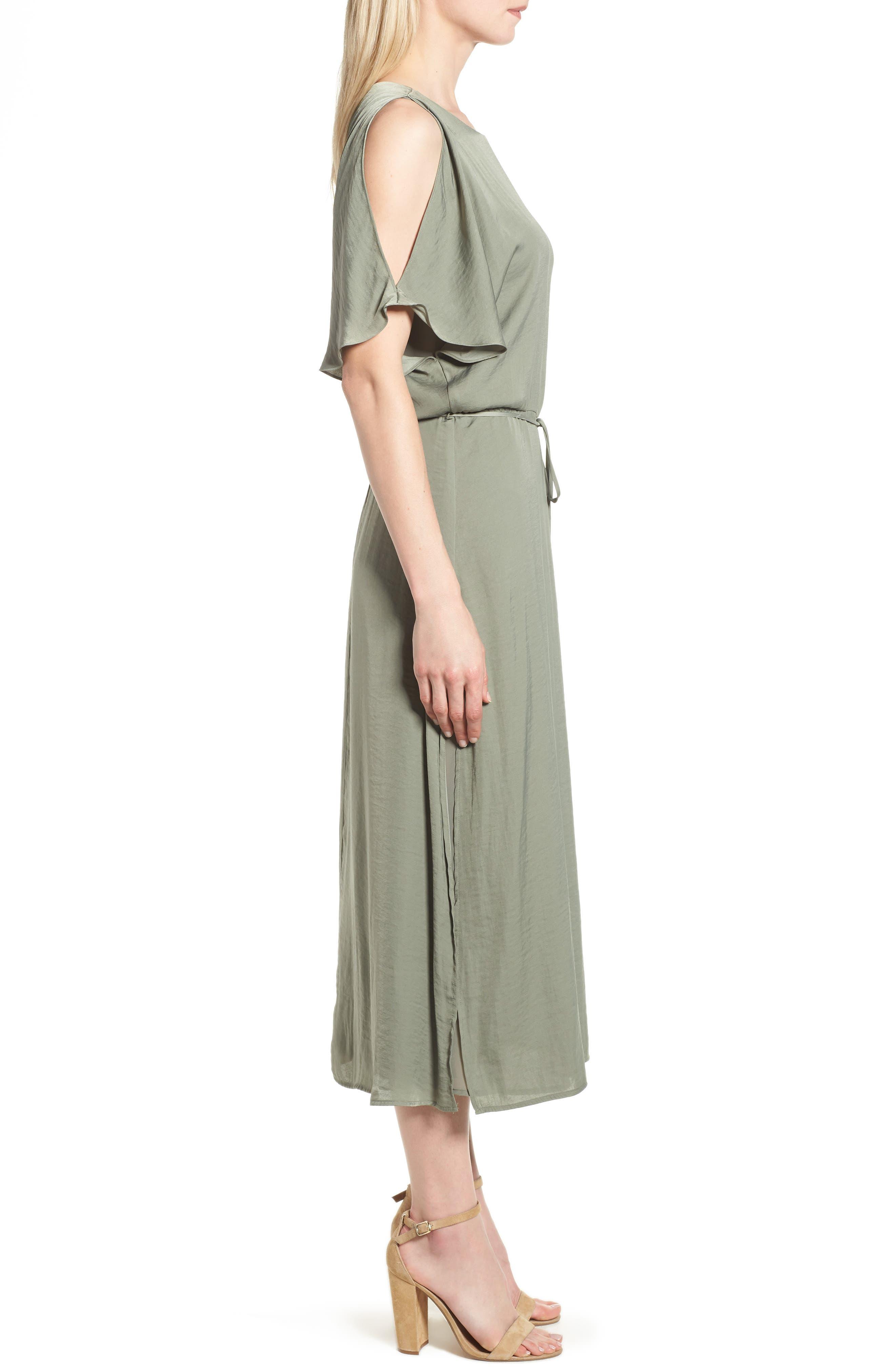 Cold Shoulder Rumpled Satin Dress,                             Alternate thumbnail 3, color,                             304