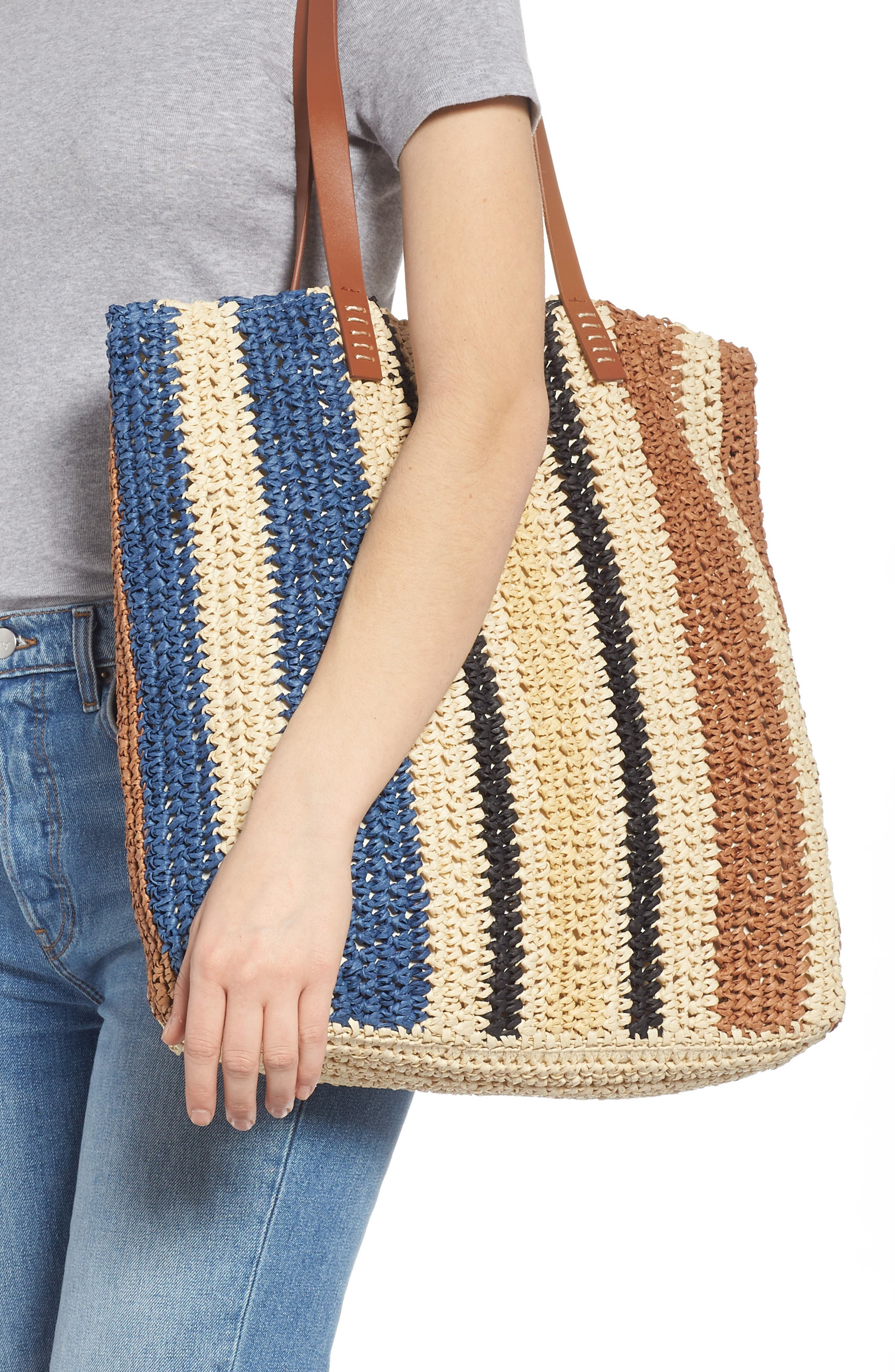 Stripe North/South Raffia Tote,                             Alternate thumbnail 2, color,                             MULTI