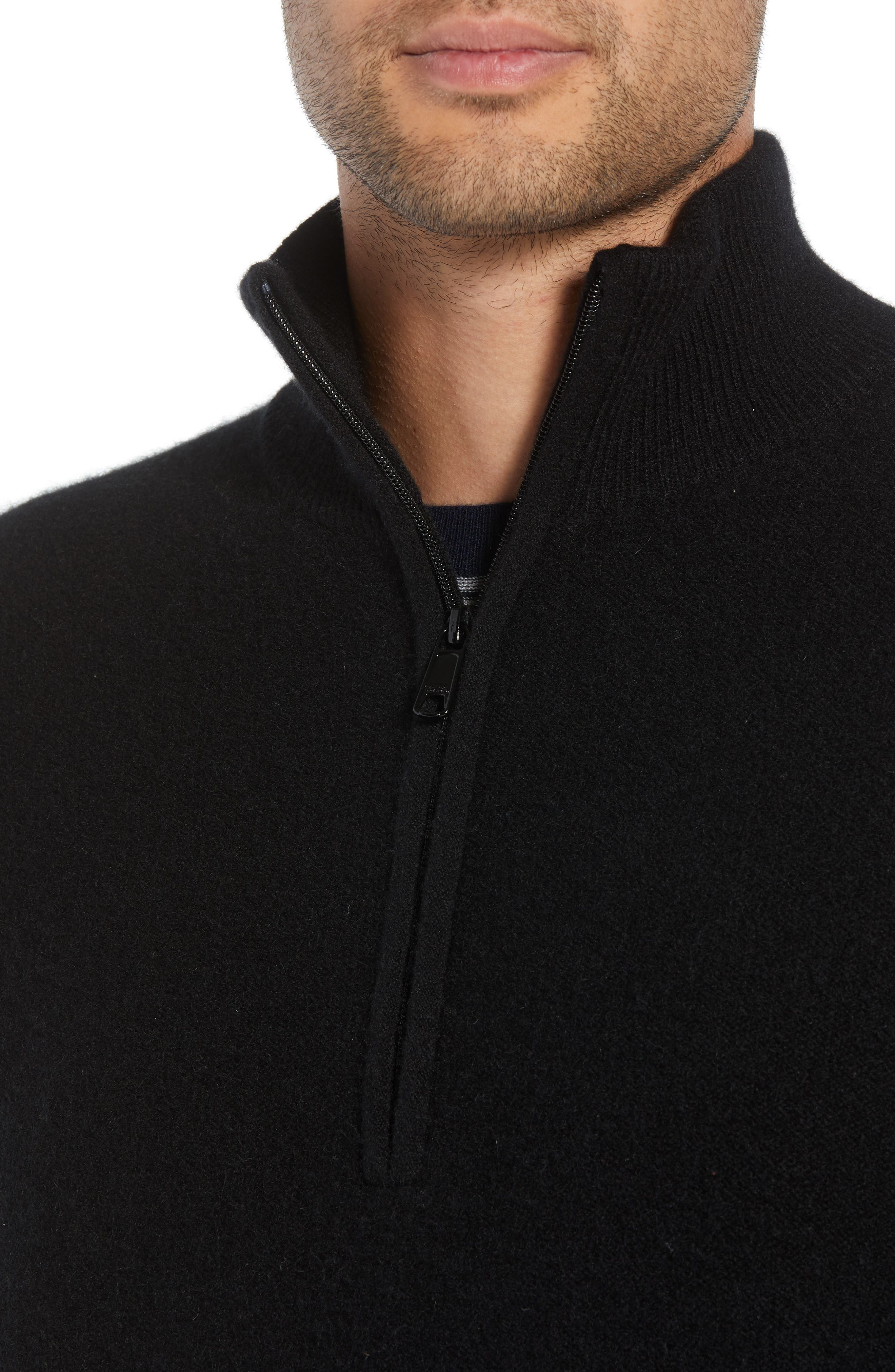 Regular Fit Half Zip Cashmere Sweater,                             Alternate thumbnail 4, color,                             001