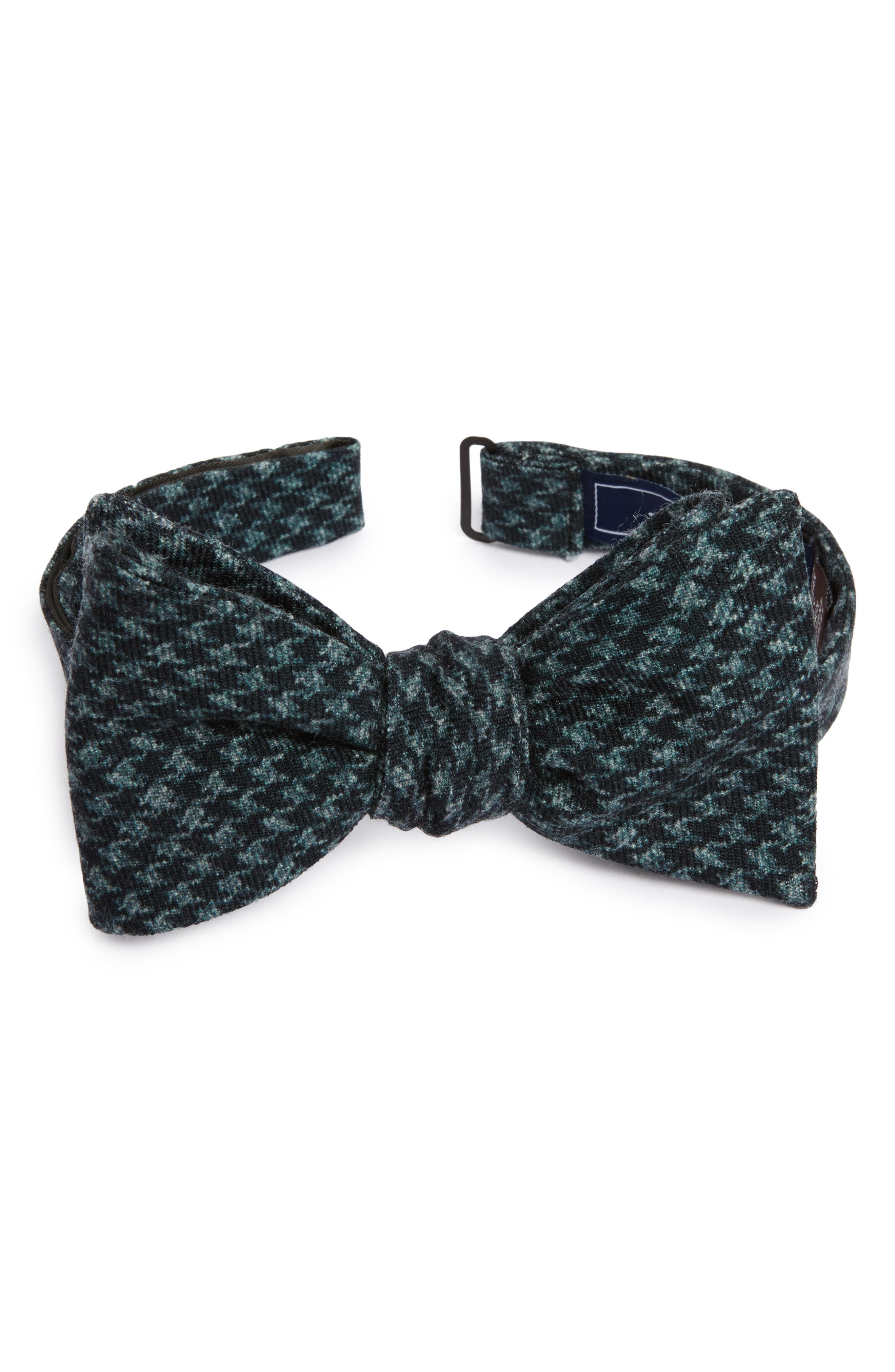 Woolf Houndstooth Wool Bow Tie,                         Main,                         color, 001