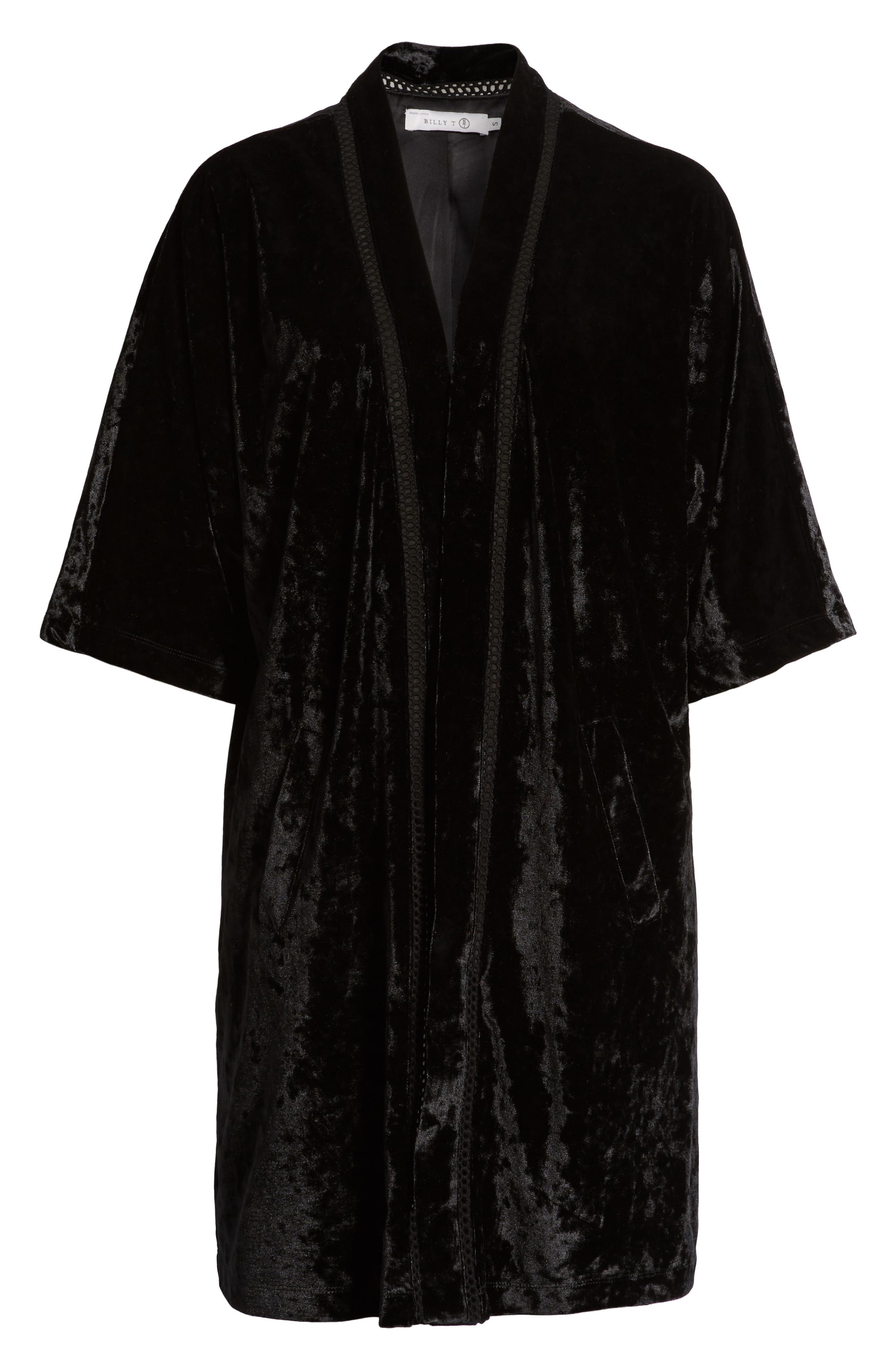 Embroidered Velvet Kimono Jacket,                             Alternate thumbnail 5, color,                             001