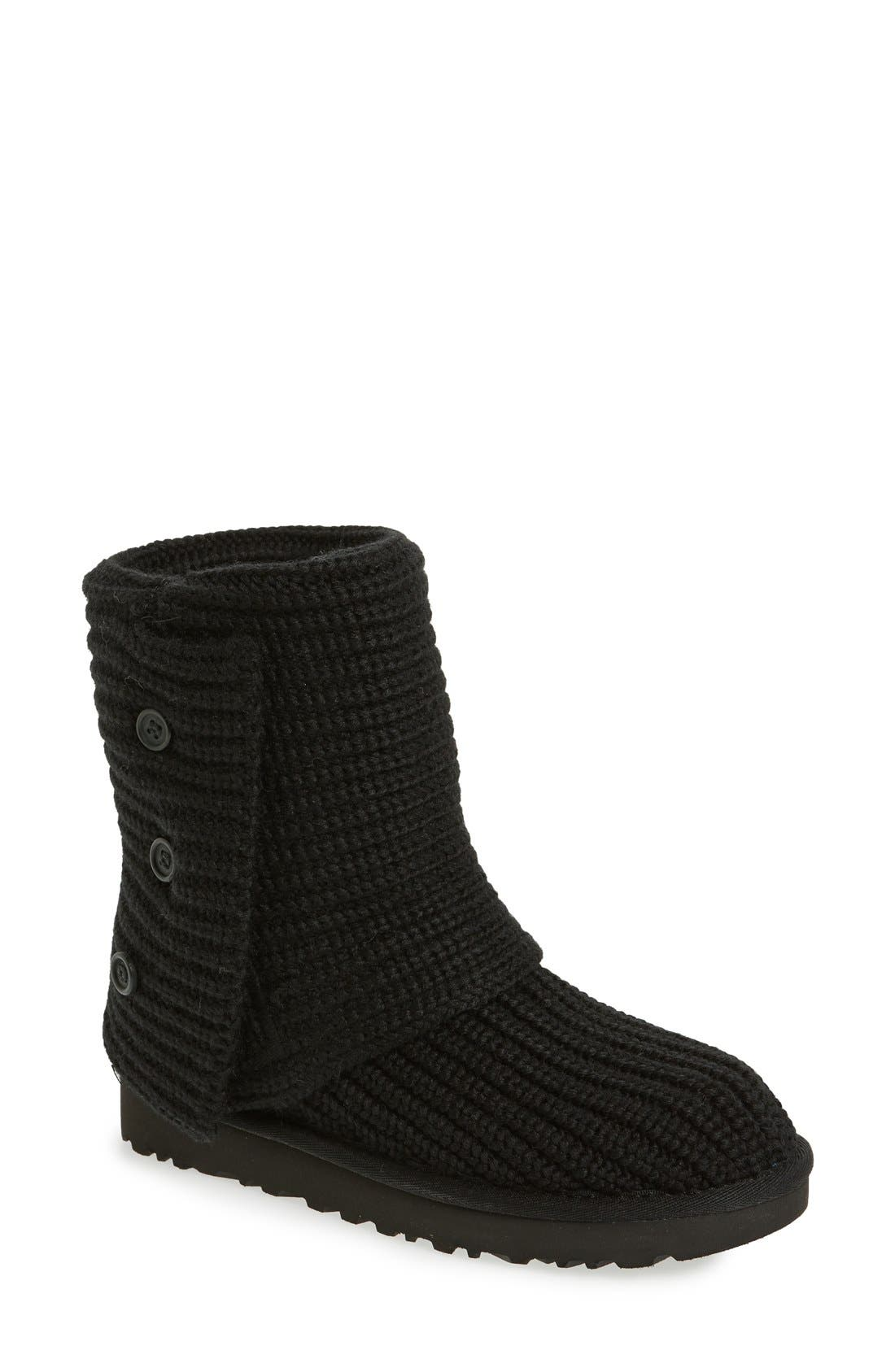 UGG<SUP>®</SUP>,                             Classic Cardy II Knit Boot,                             Main thumbnail 1, color,                             BLACK FABRIC