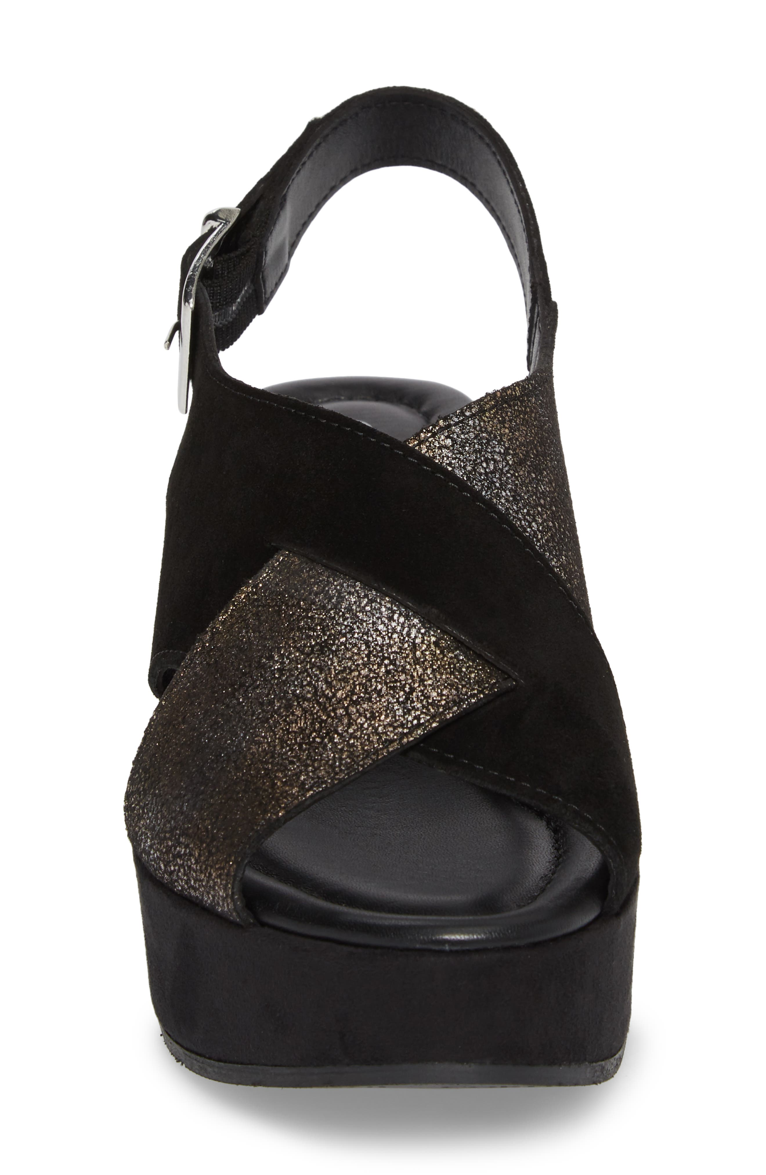 Cleary Wedge Sandal,                             Alternate thumbnail 4, color,                             BLACK/ PEWTER SUEDE