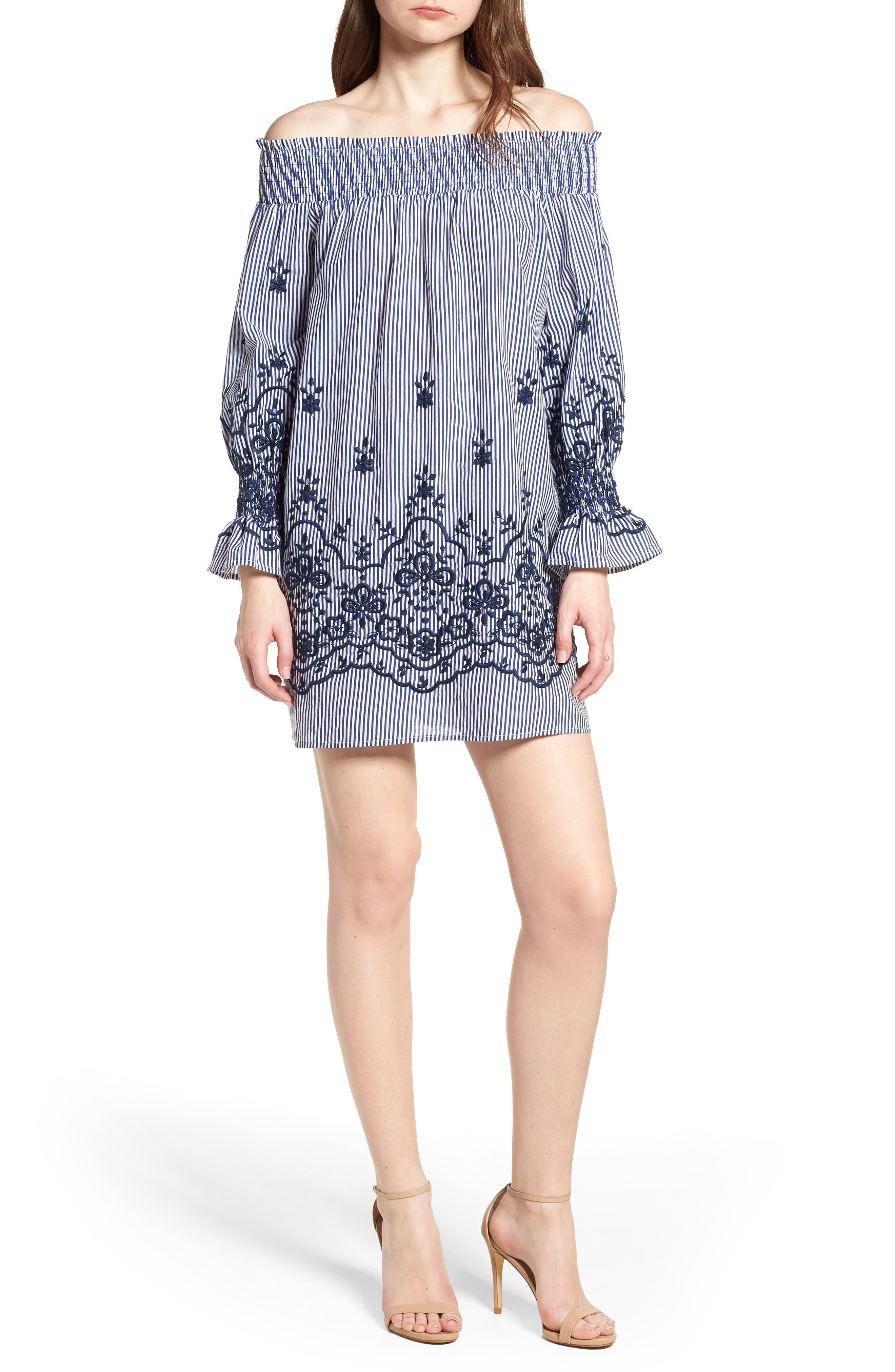 Bishop + Young Stripe Embroidered Off the Shoulder Dress,                         Main,                         color,