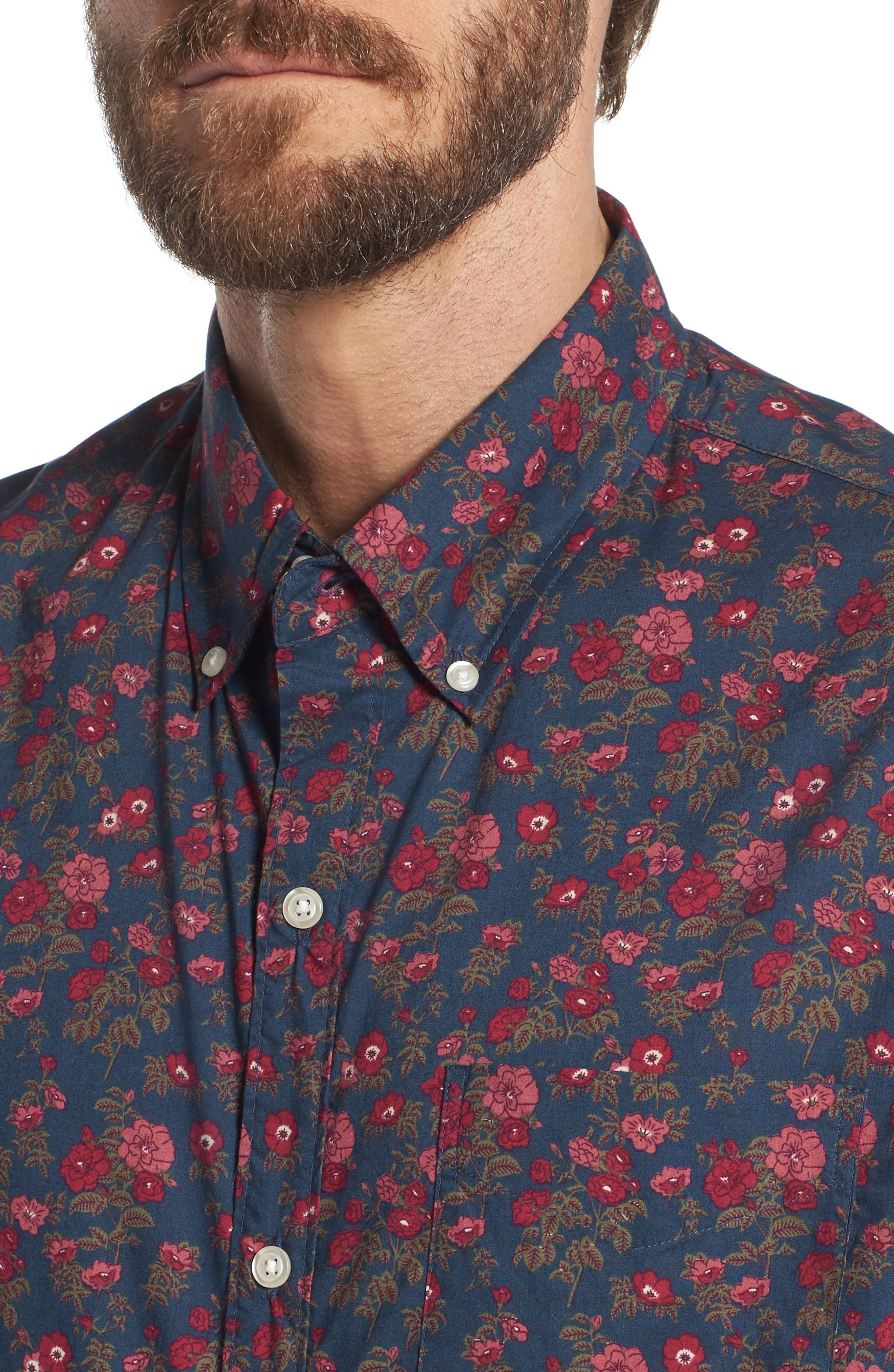 Riviera Slim Fit Floral Print Sport Shirt,                             Alternate thumbnail 4, color,                             400