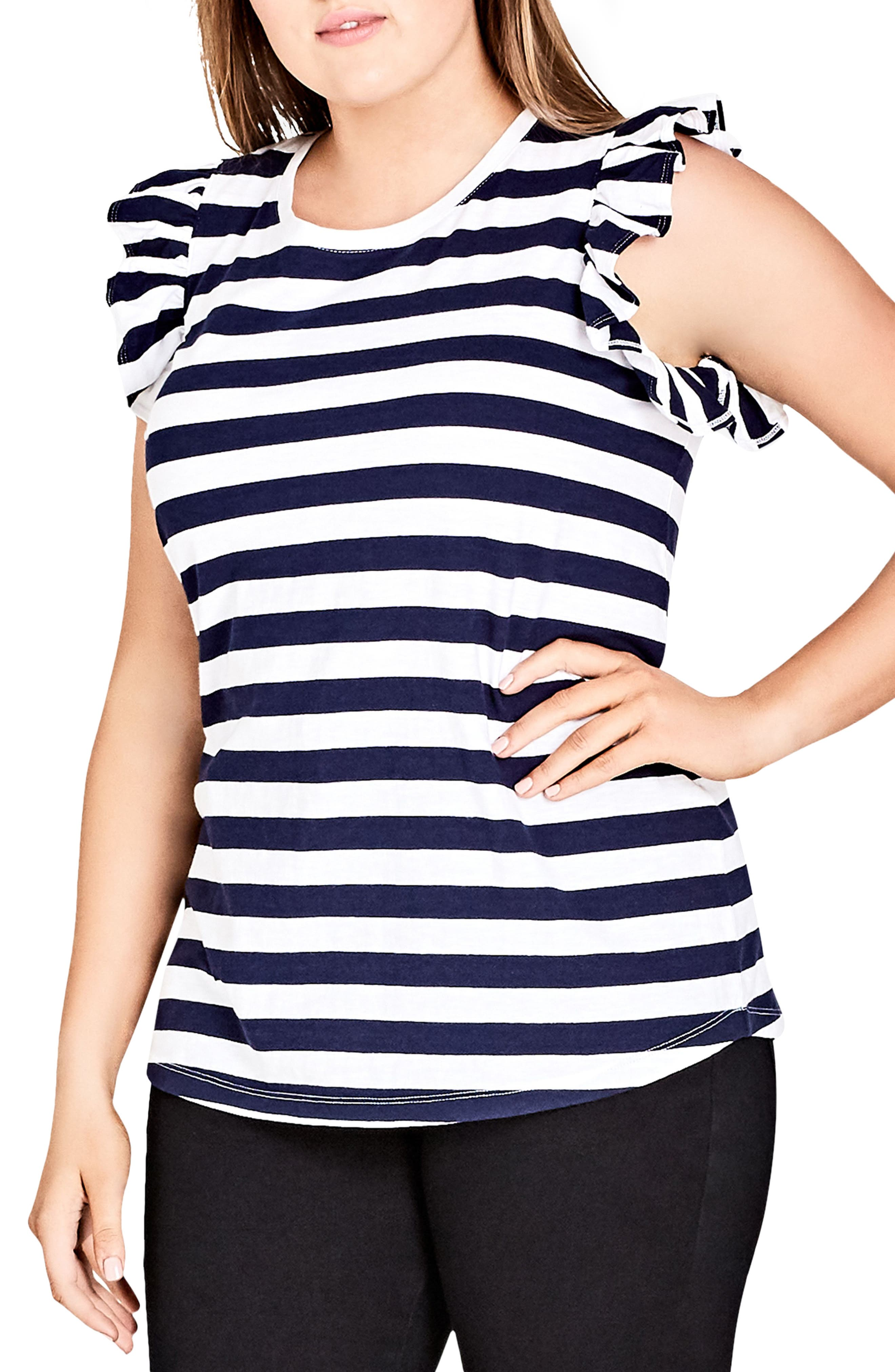 Stripe Frill Sleeve Knit Top,                             Main thumbnail 1, color,                             WHITE STRIPE