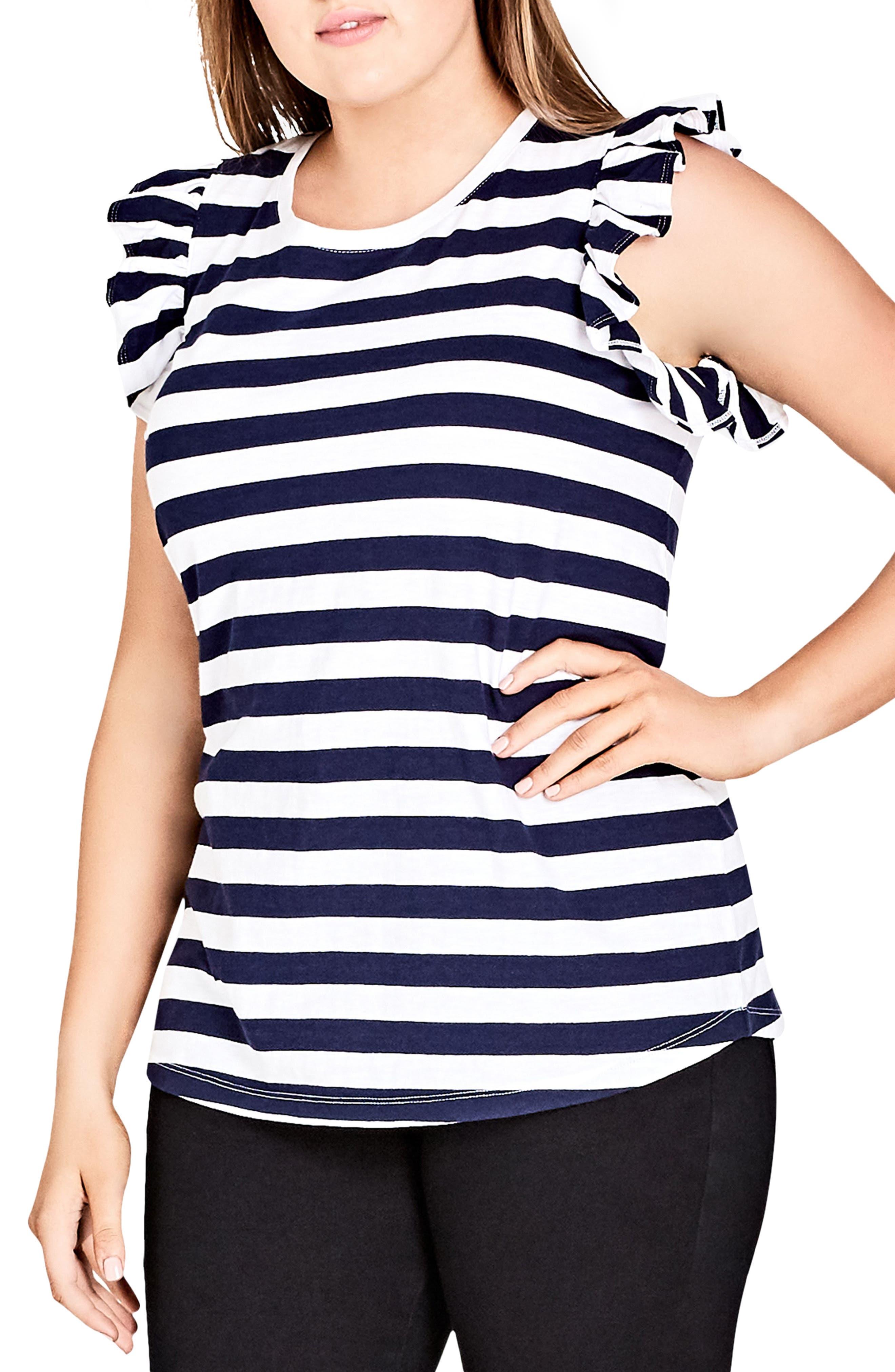 Stripe Frill Sleeve Knit Top,                         Main,                         color, WHITE STRIPE