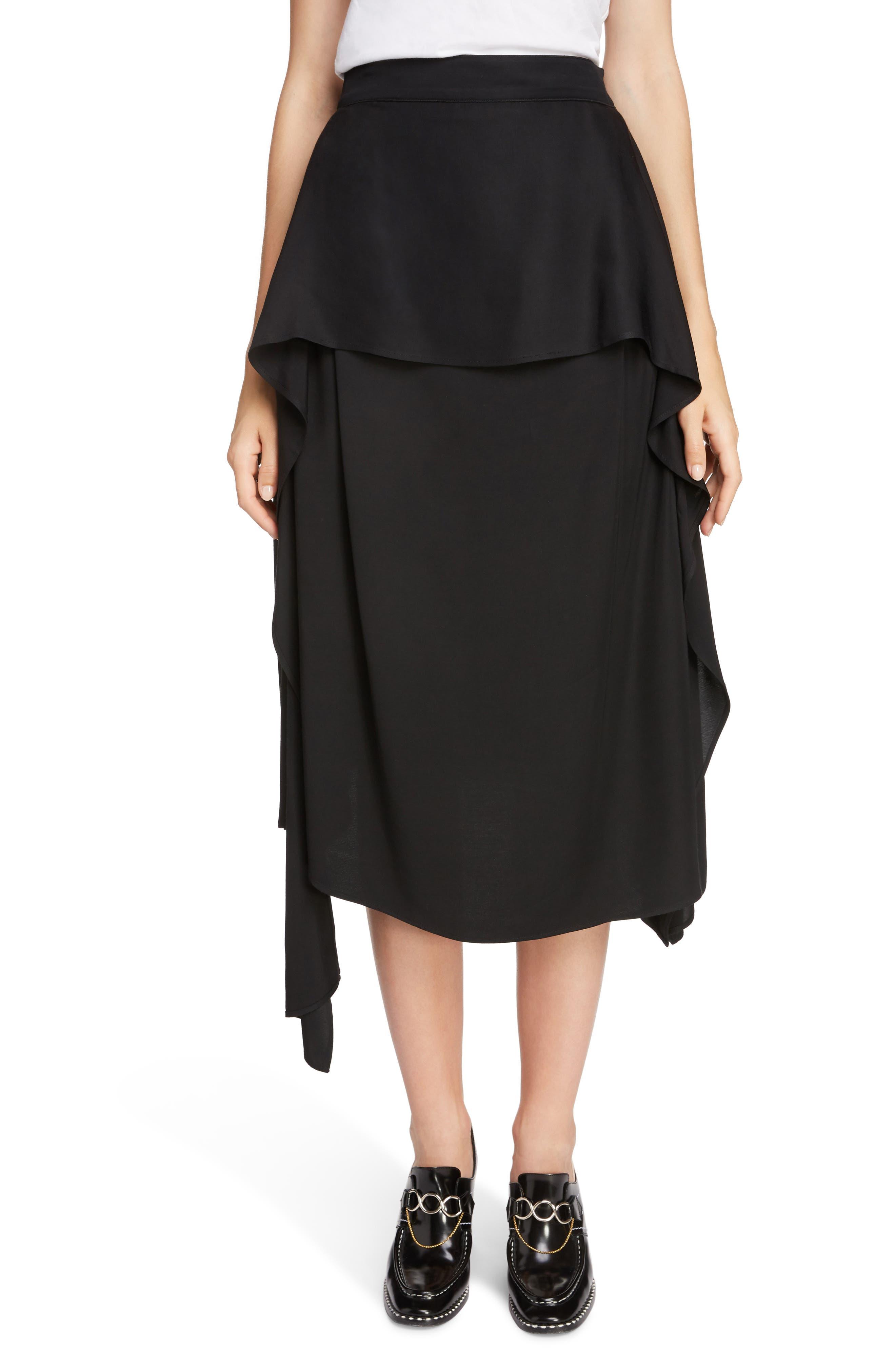 JW ANDERSON,                             Draped Side Asymmetrical Skirt,                             Main thumbnail 1, color,                             BLACK