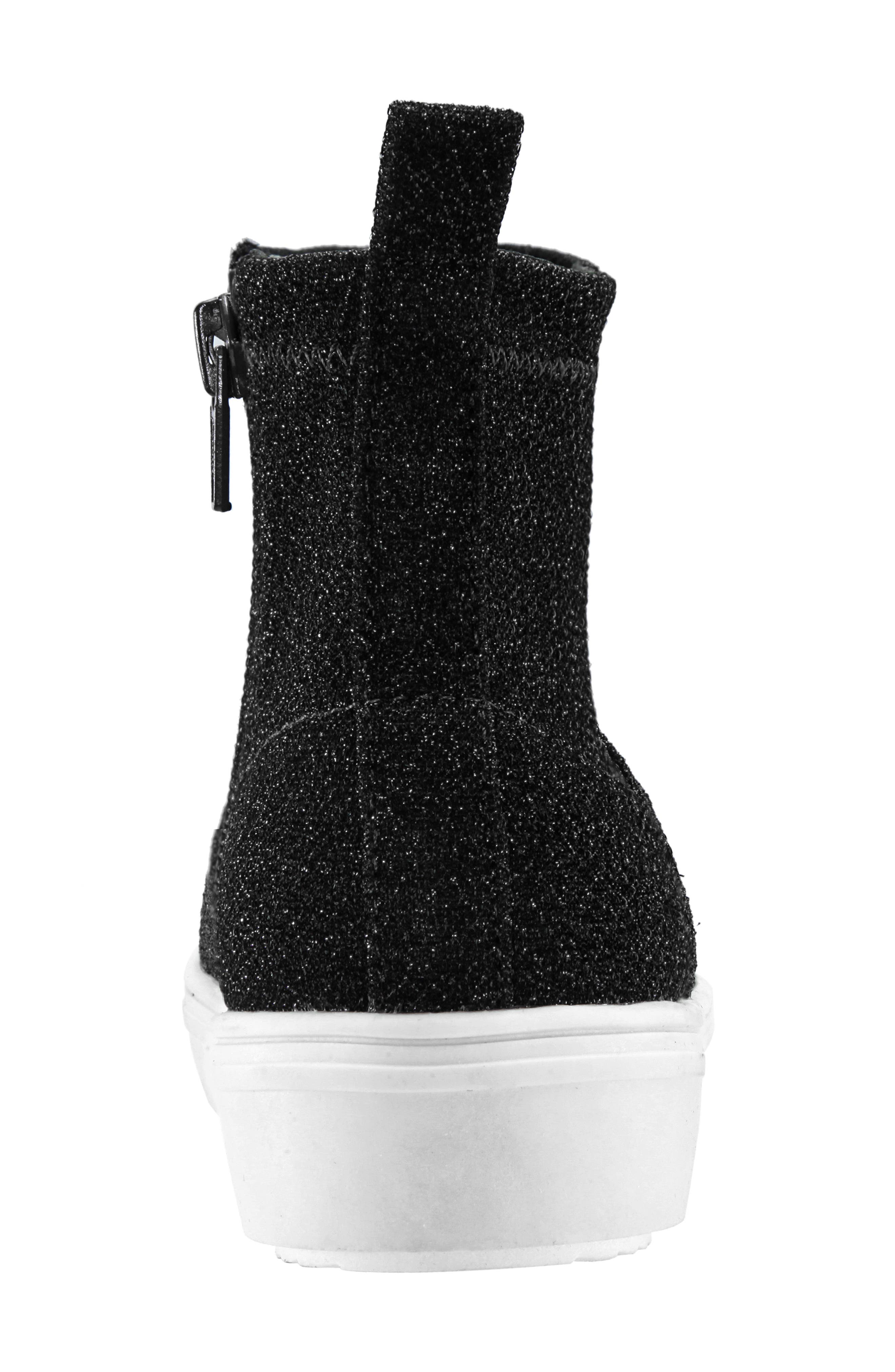 Isha Sparkle High Top Sneaker,                             Alternate thumbnail 7, color,                             BLACK STRETCH SPARKLE