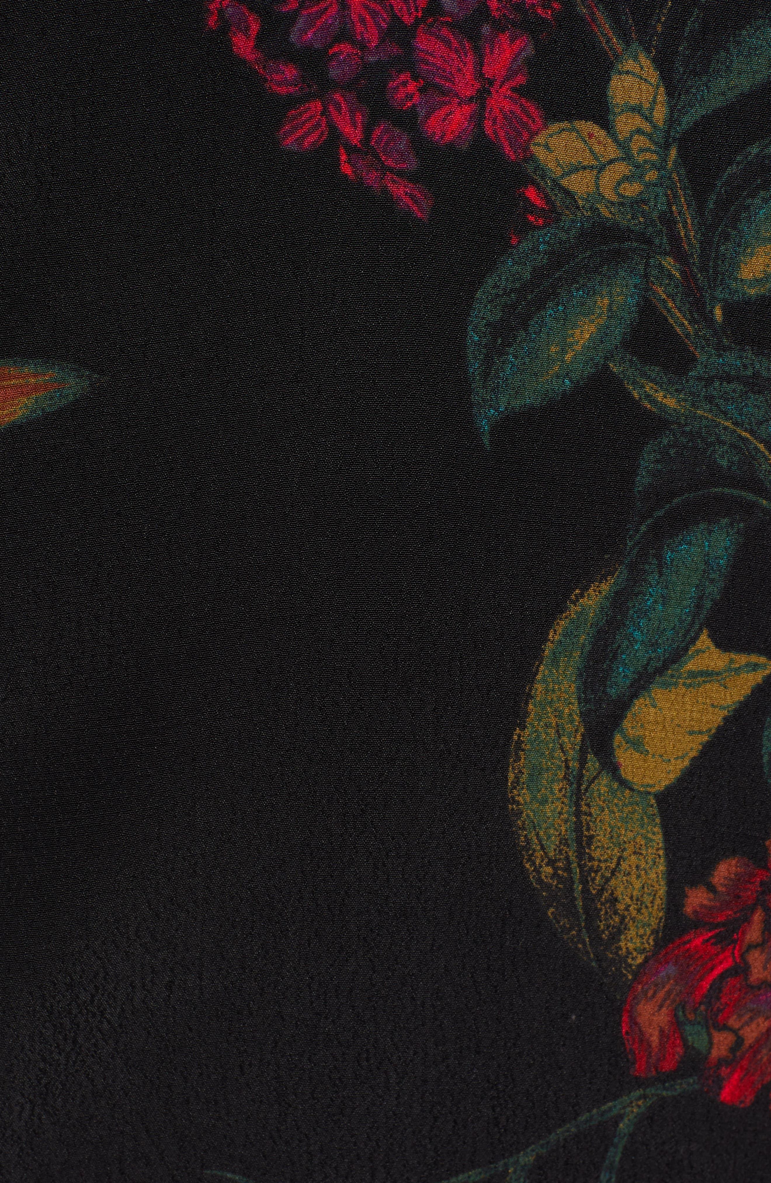 V-Neck Floral Print Minidress,                             Alternate thumbnail 6, color,                             BLACK STATEMENT FLORAL
