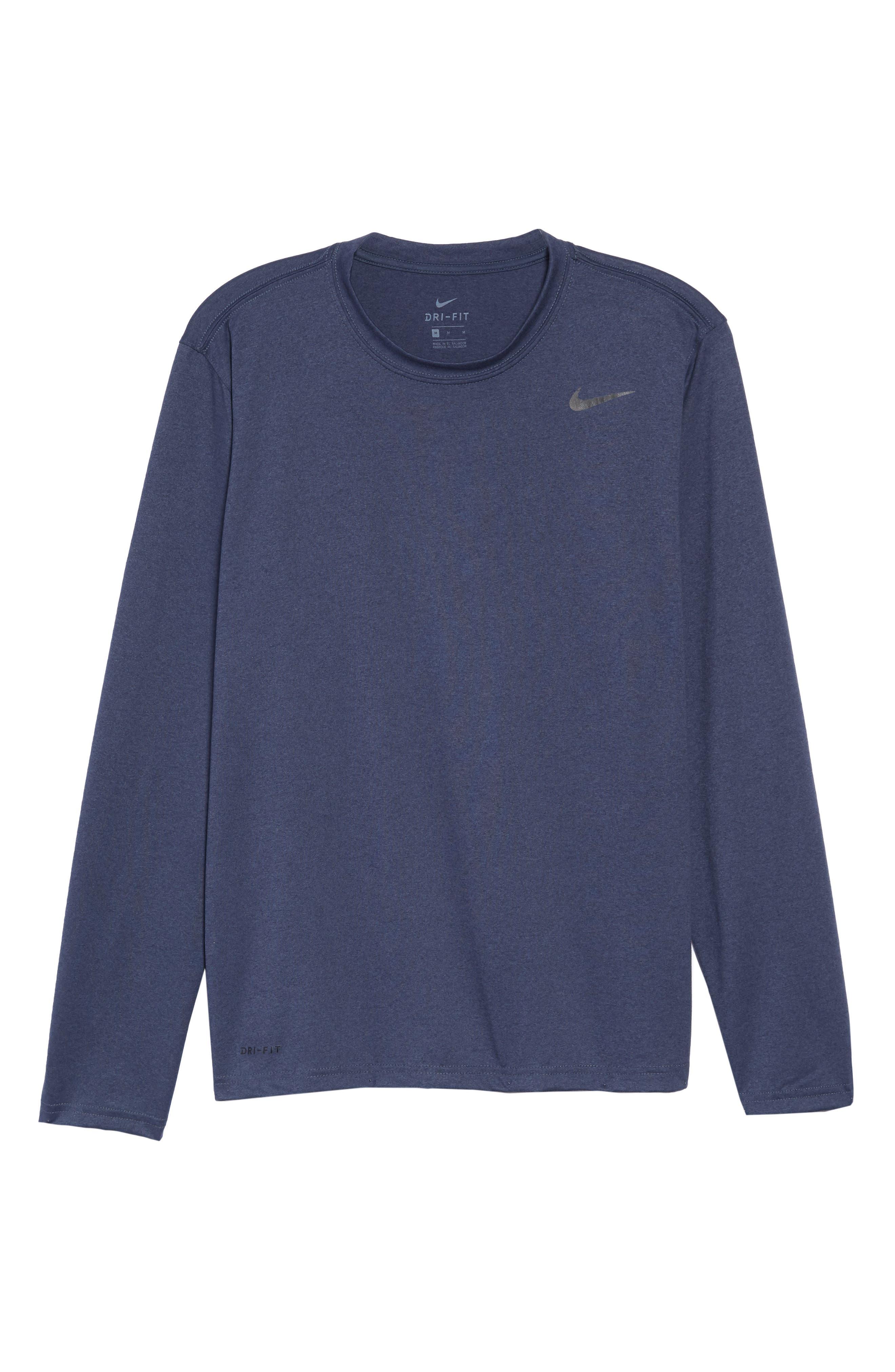 'Legend 2.0' Long Sleeve Dri-FIT Training T-Shirt,                             Alternate thumbnail 6, color,                             THUNDER BLUE/ BLACK