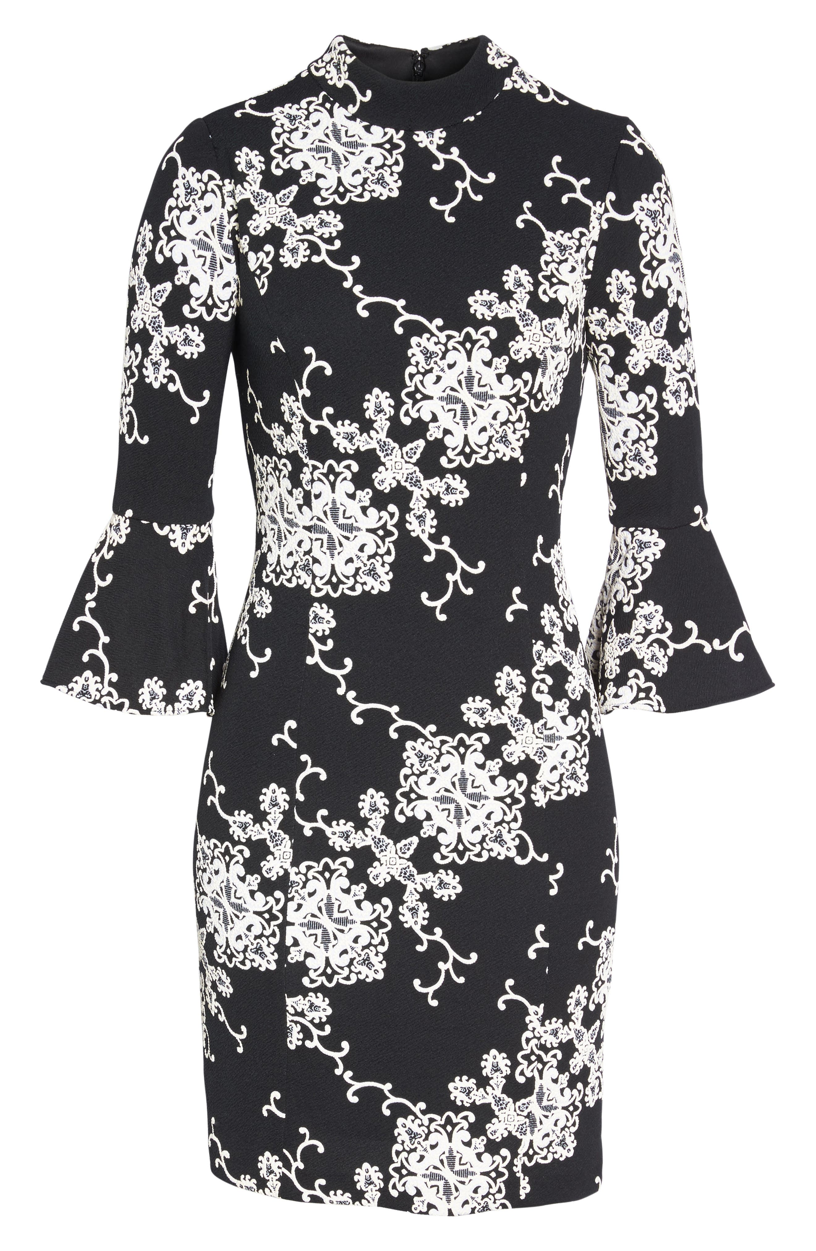 Flare Sleeve Sheath Dress,                             Alternate thumbnail 6, color,                             016