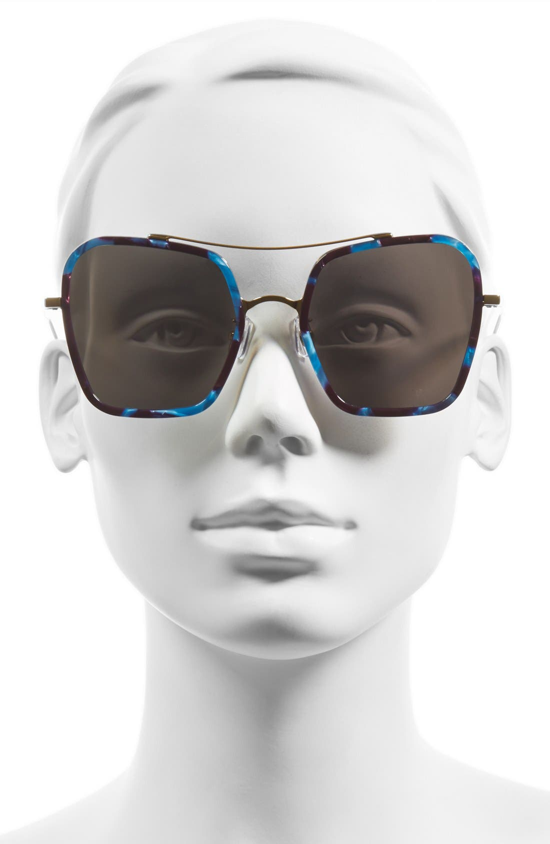 53mm Retro Square Sunglasses,                             Alternate thumbnail 6, color,