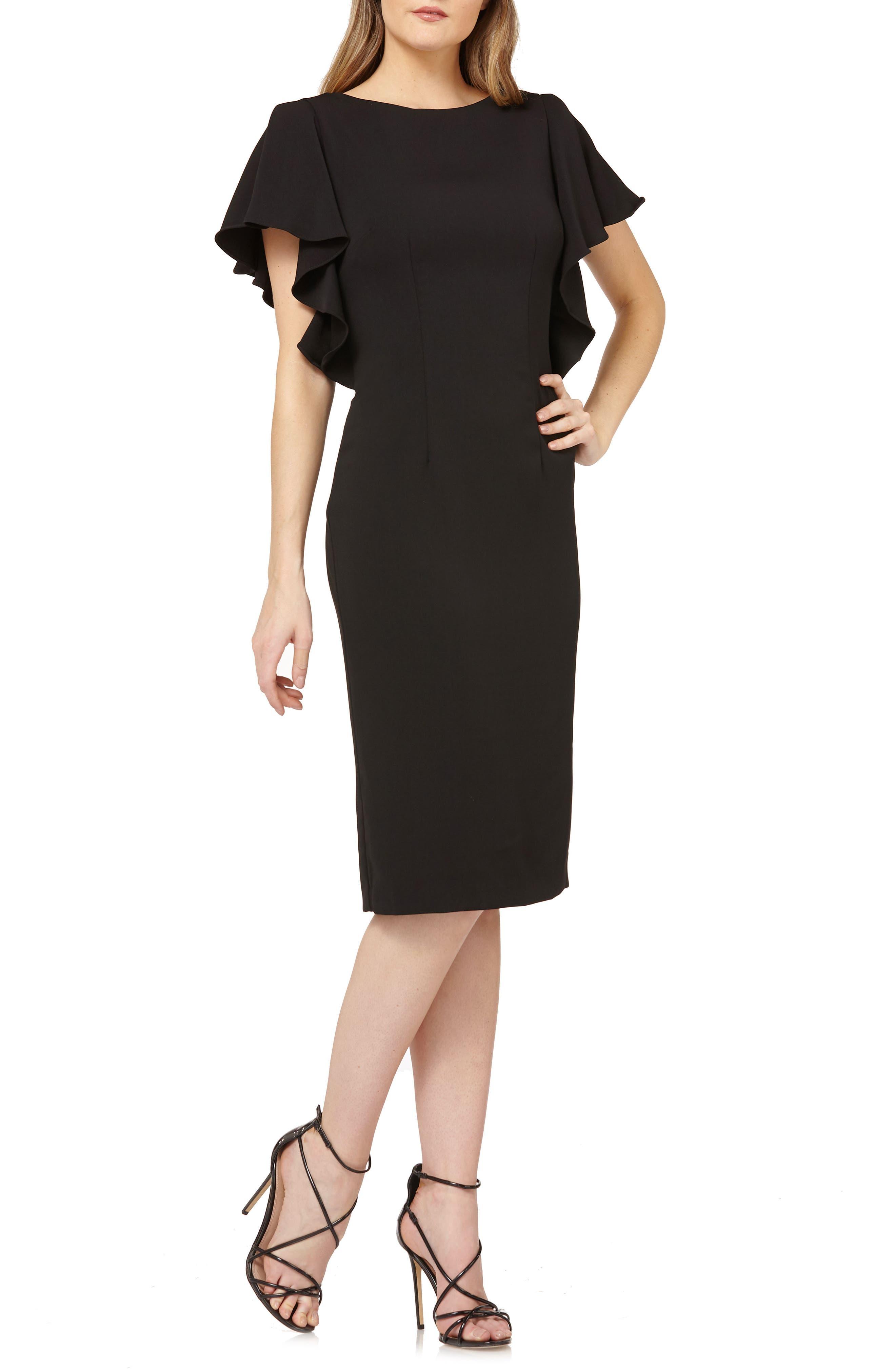 Carmen Marc Valvo Infusion Flutter Sleeve Sheath Dress, Black