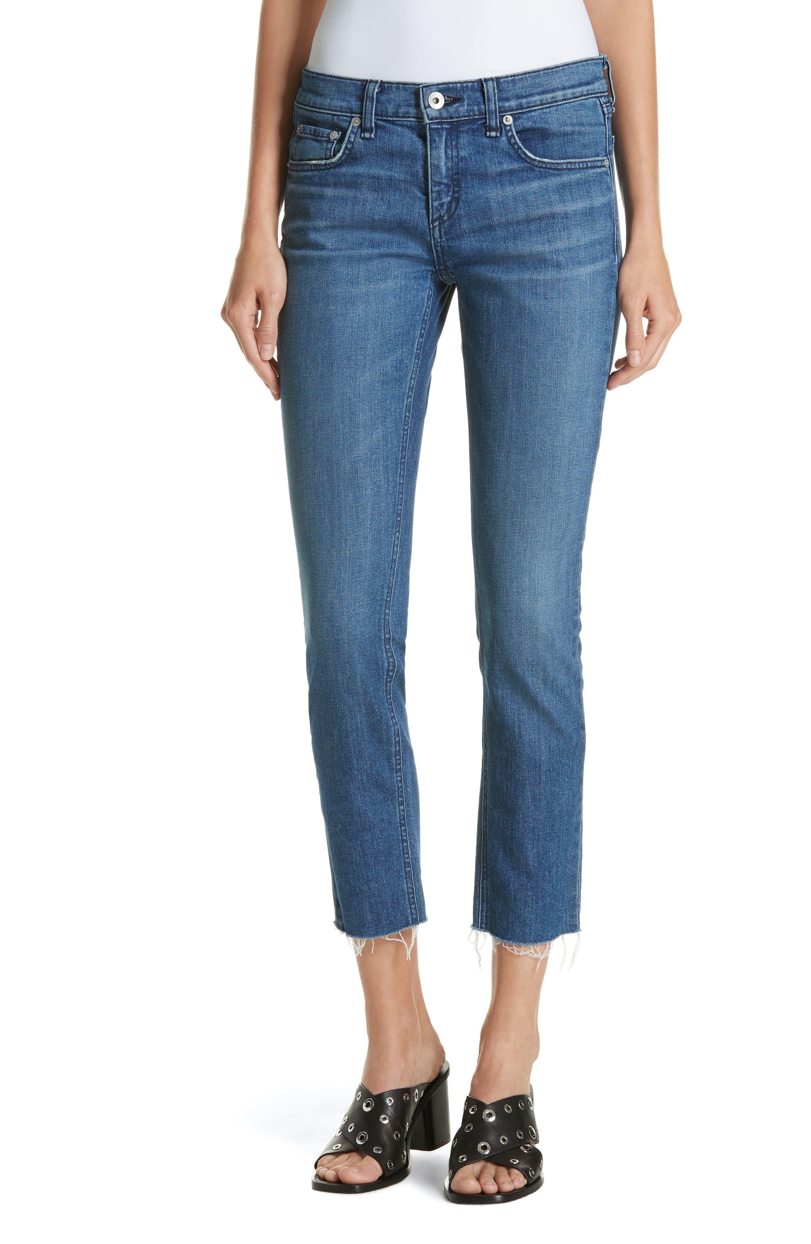 The Dre Crop Fray Hem Slim Fit Boyfriend Jeans,                             Main thumbnail 1, color,                             LOVIE