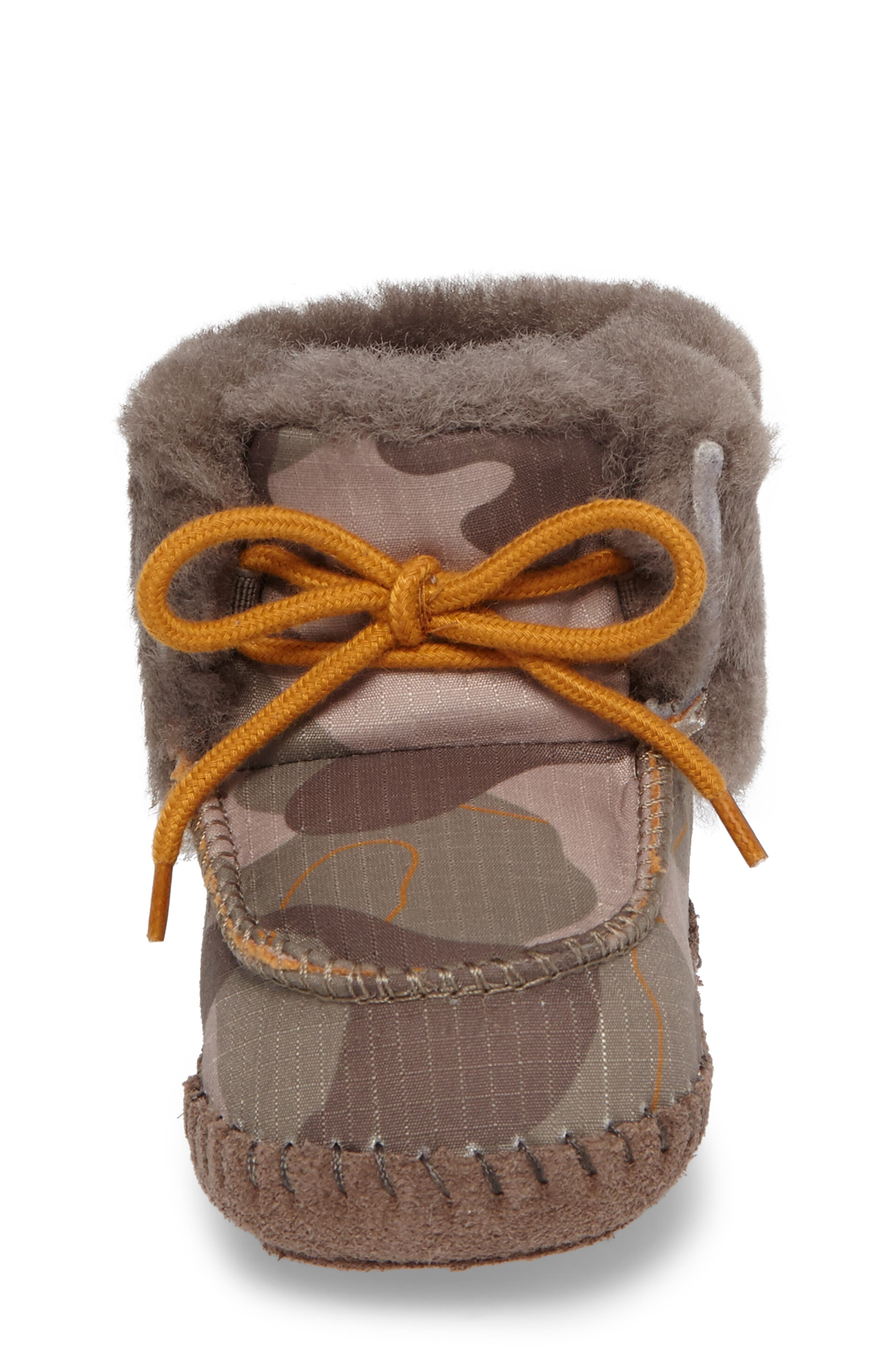 Sparrow Camo Genuine Shearling Moccasin Bootie,                             Alternate thumbnail 4, color,                             020