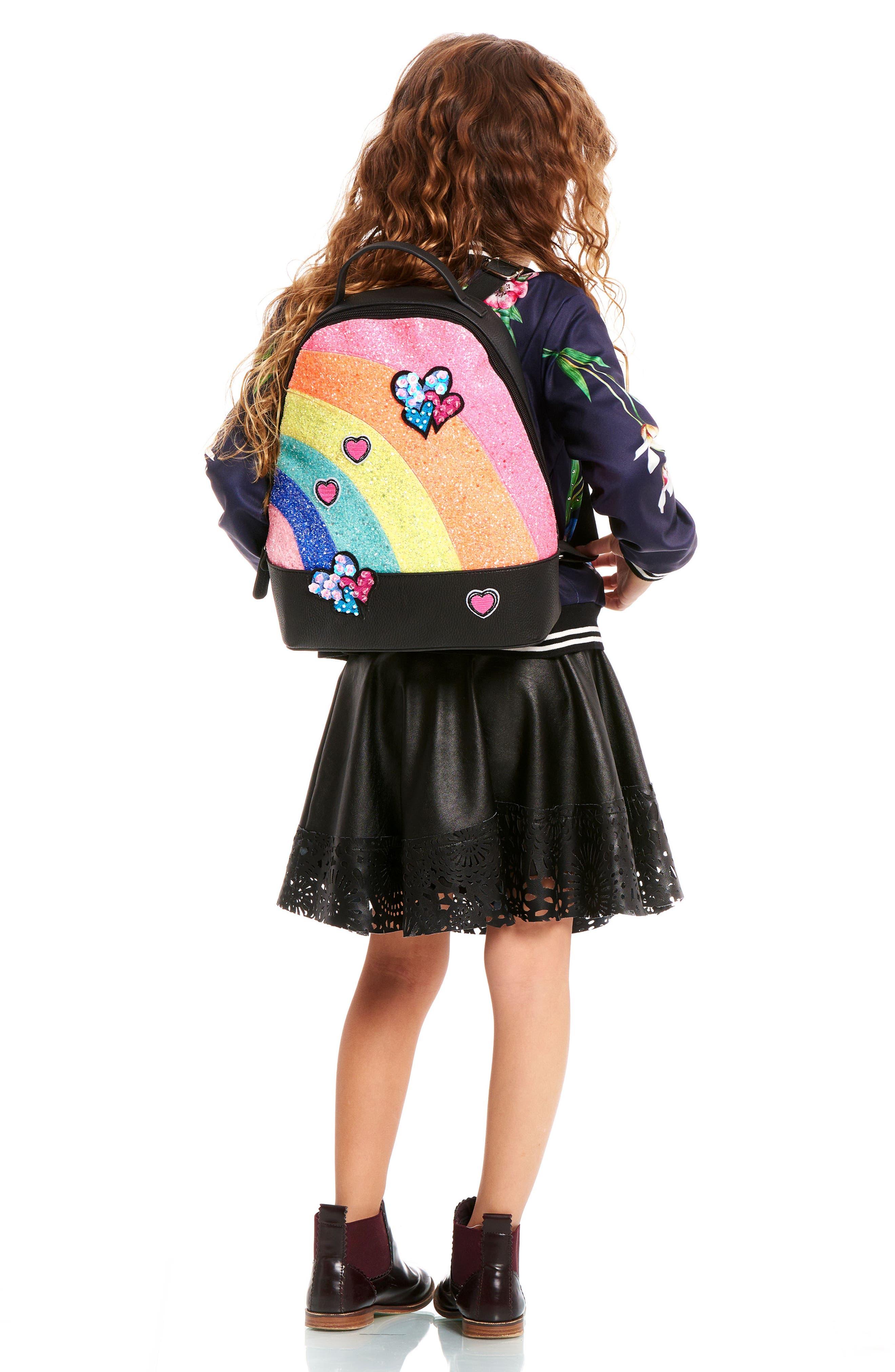 Mini Glitter Rainbow Backpack,                             Alternate thumbnail 2, color,                             BLACK MULTI