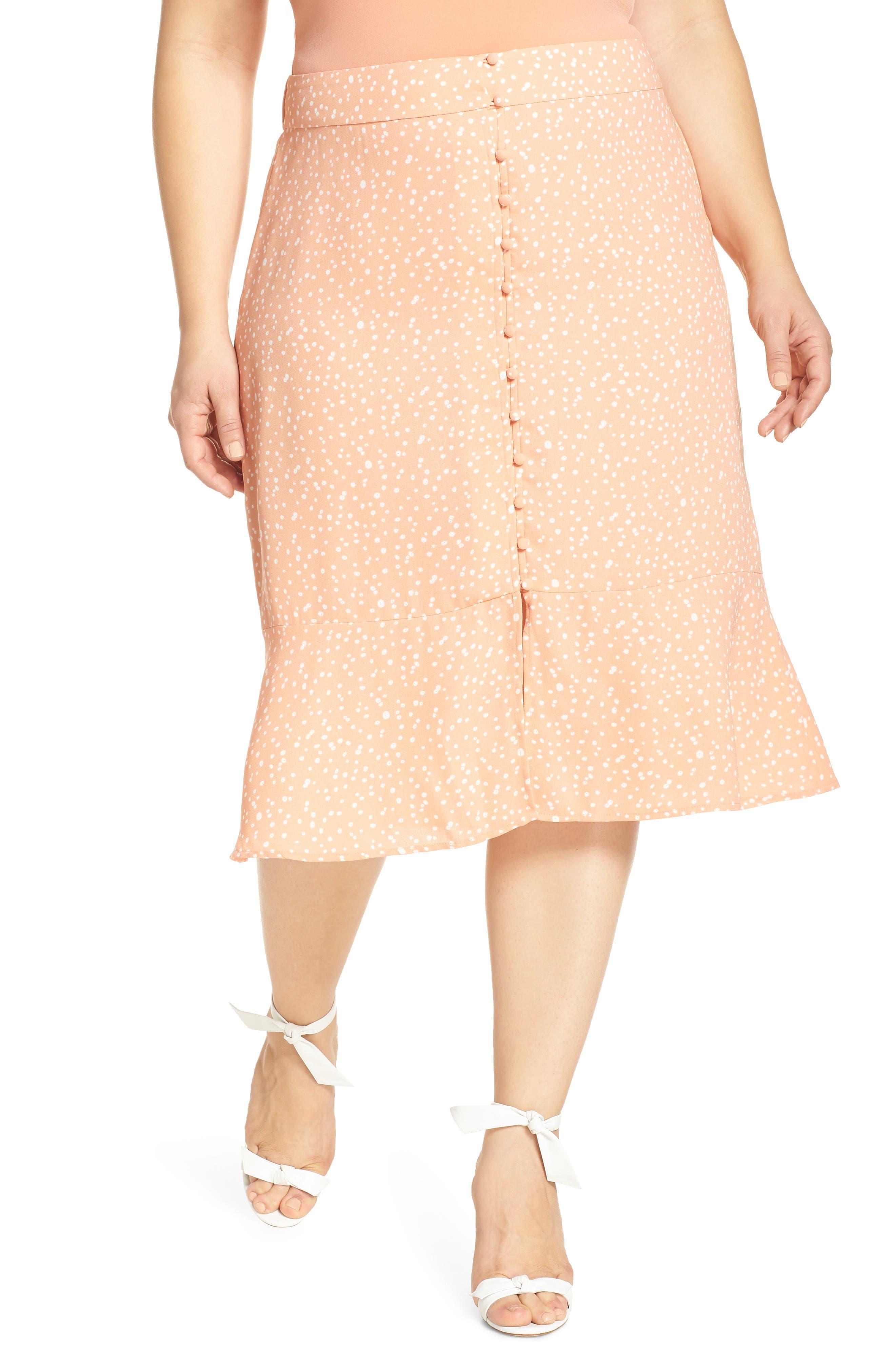 Plus Size Leith Front Button Midi Skirt