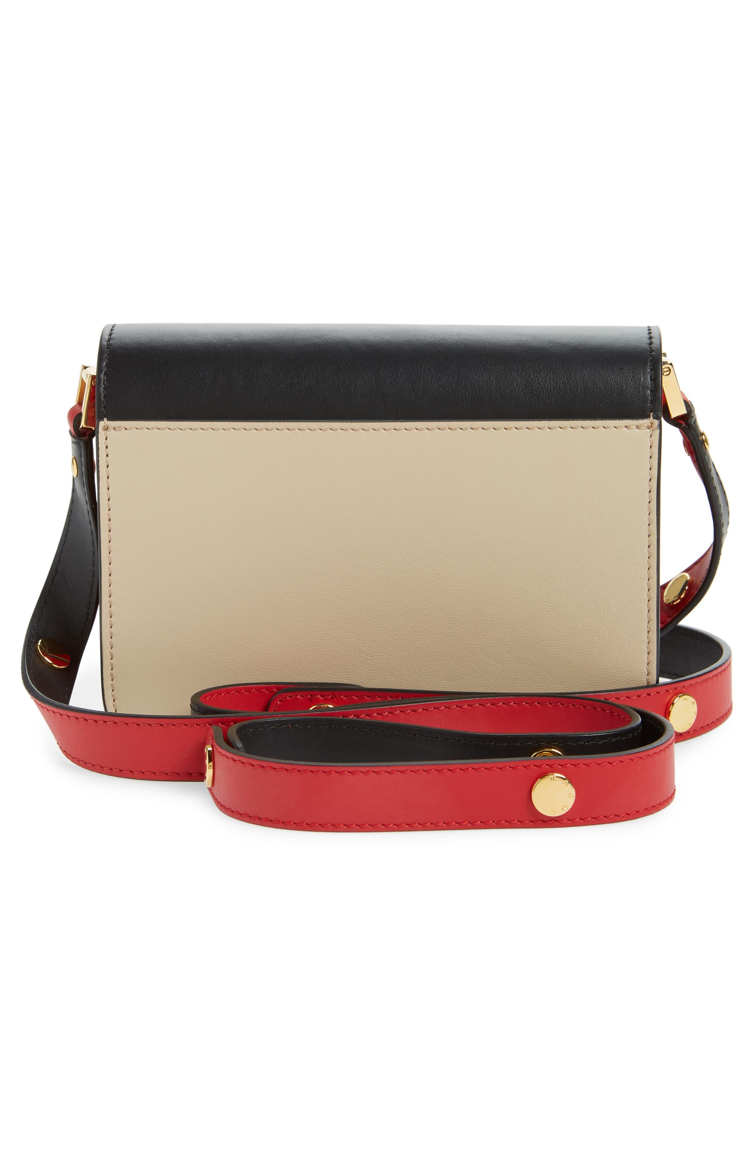 Small Trunk Colorblock Leather Shoulder Bag,                             Alternate thumbnail 3, color,                             LIGHT CAMEL/ BLACK/ RED