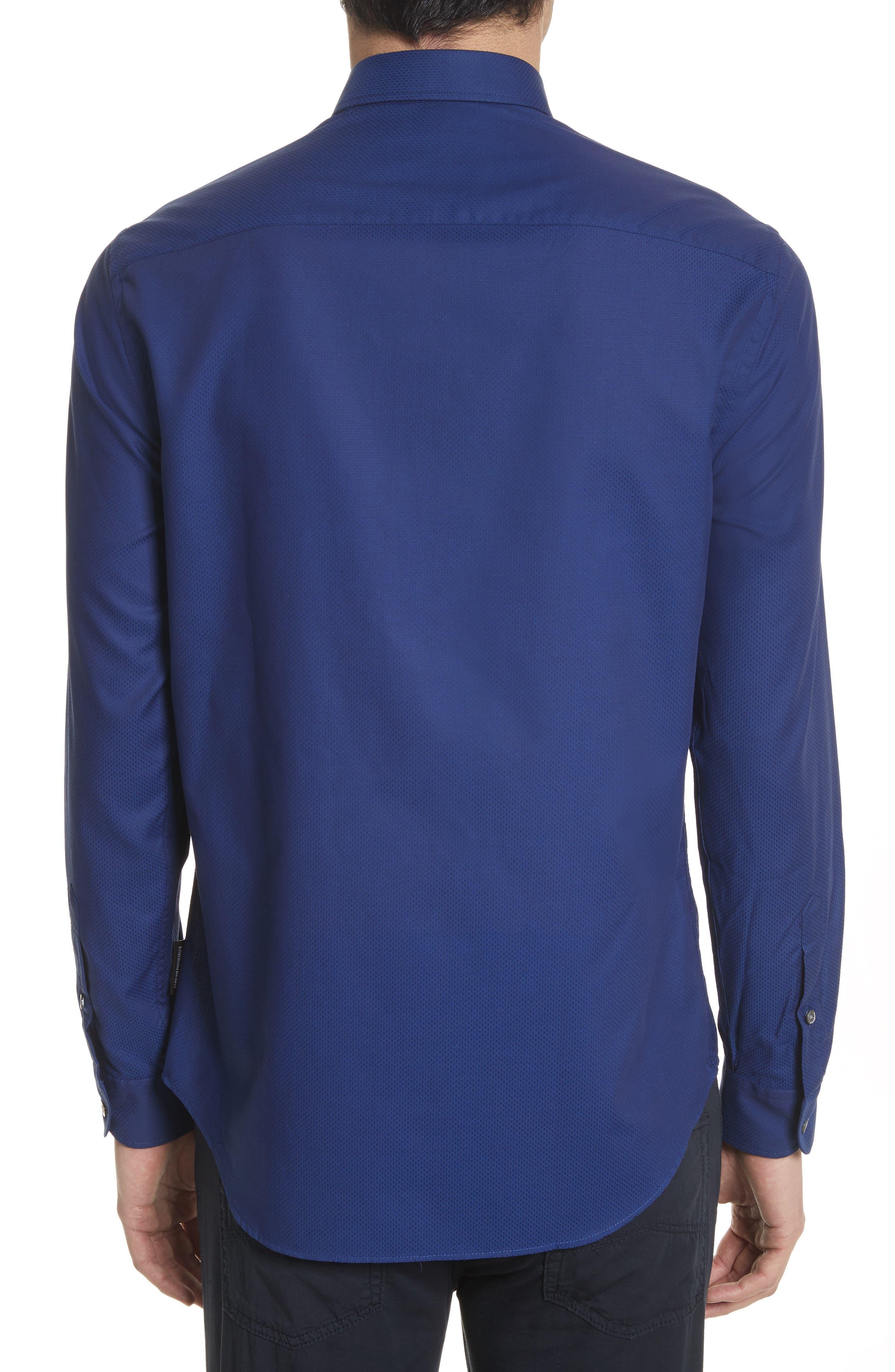 Textured Dot Print Sport Shirt,                             Alternate thumbnail 3, color,                             405