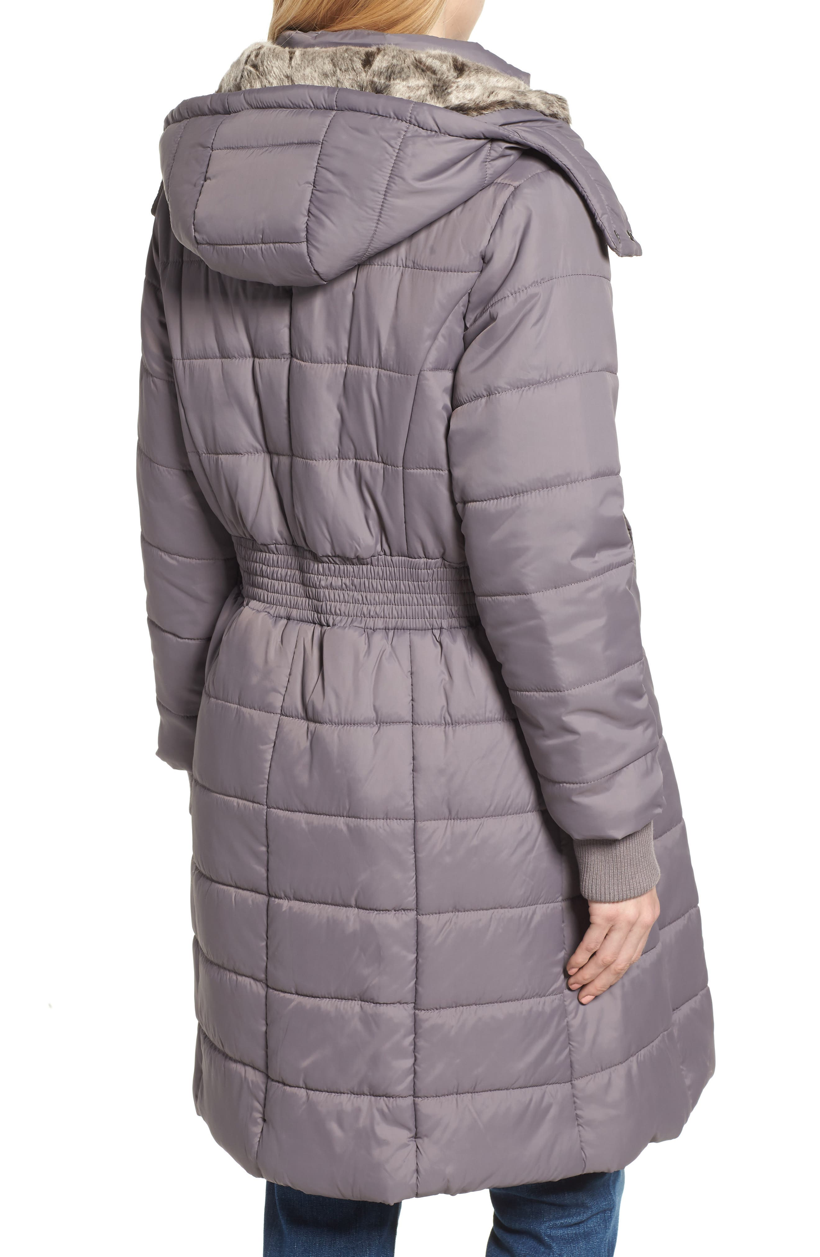 Madison Quilted 3-in-1 Maternity Puffer Coat with Faux Fur Trim,                             Alternate thumbnail 4, color,                             GREY