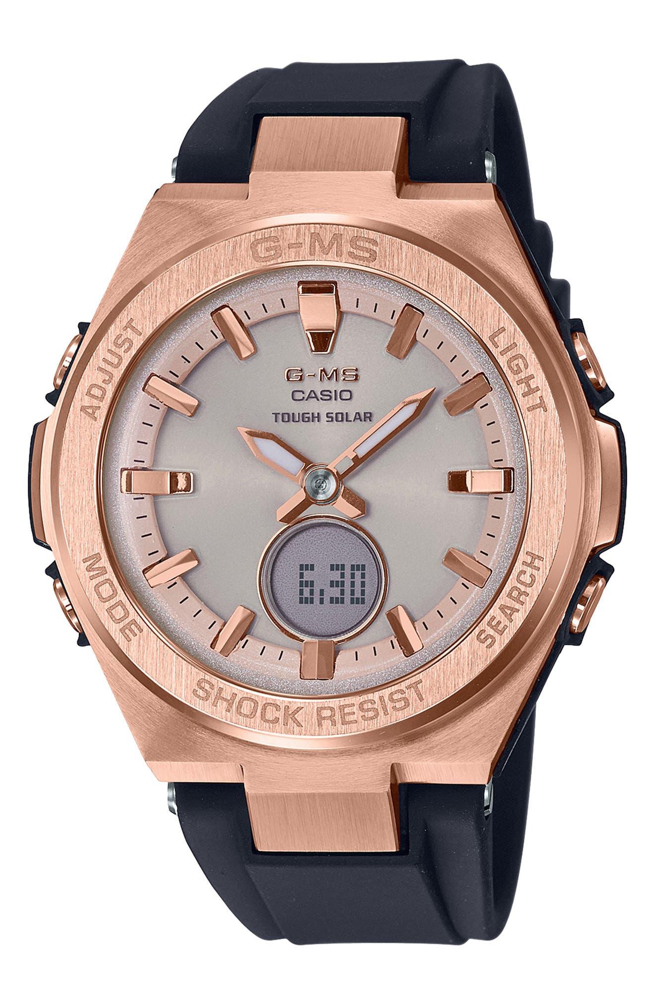 G-Shock G-MS Ana-Digi Resin Strap Watch, 38mm,                             Main thumbnail 1, color,                             001