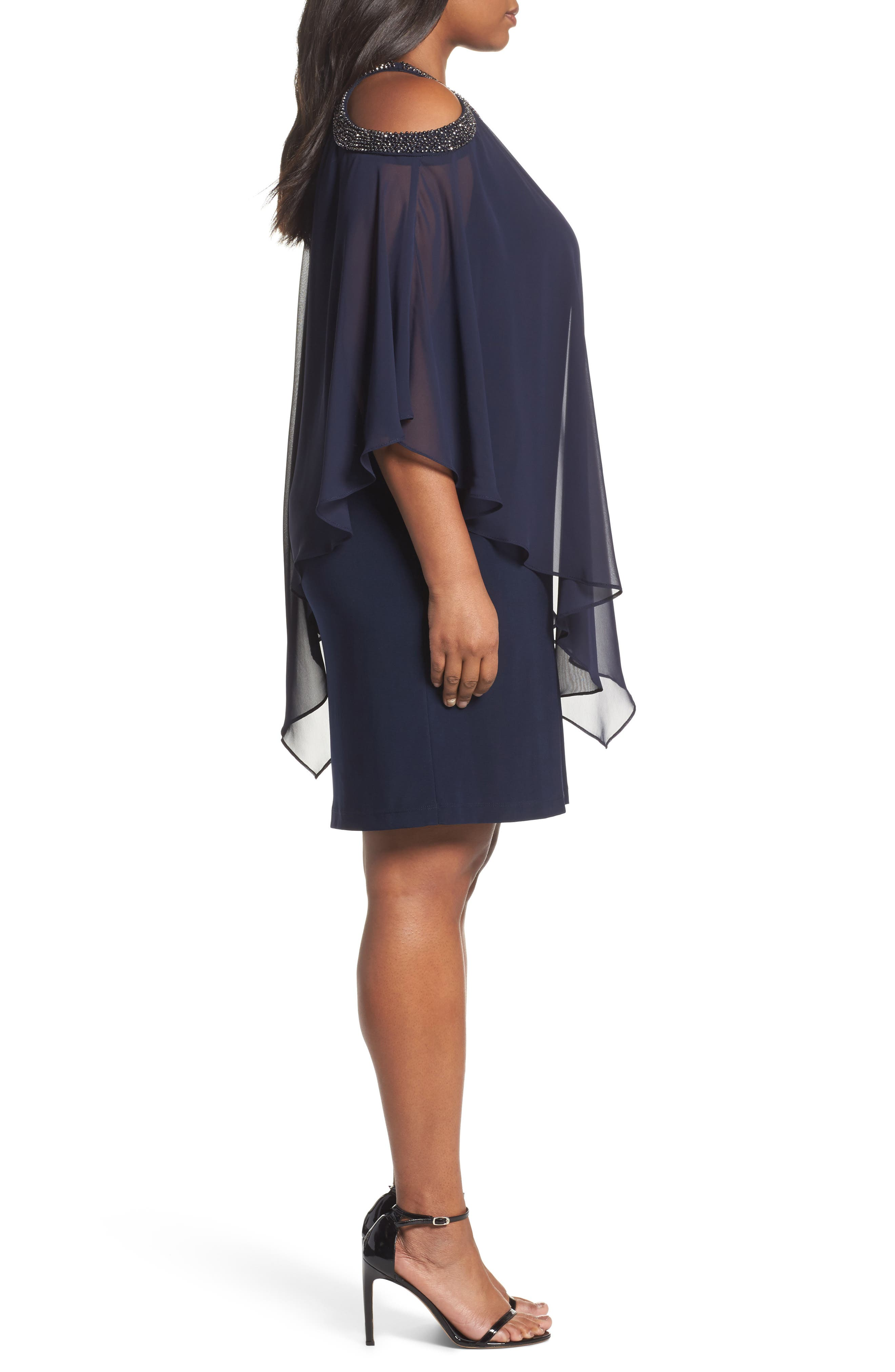 Chiffon Overlay Dress,                             Alternate thumbnail 3, color,                             498