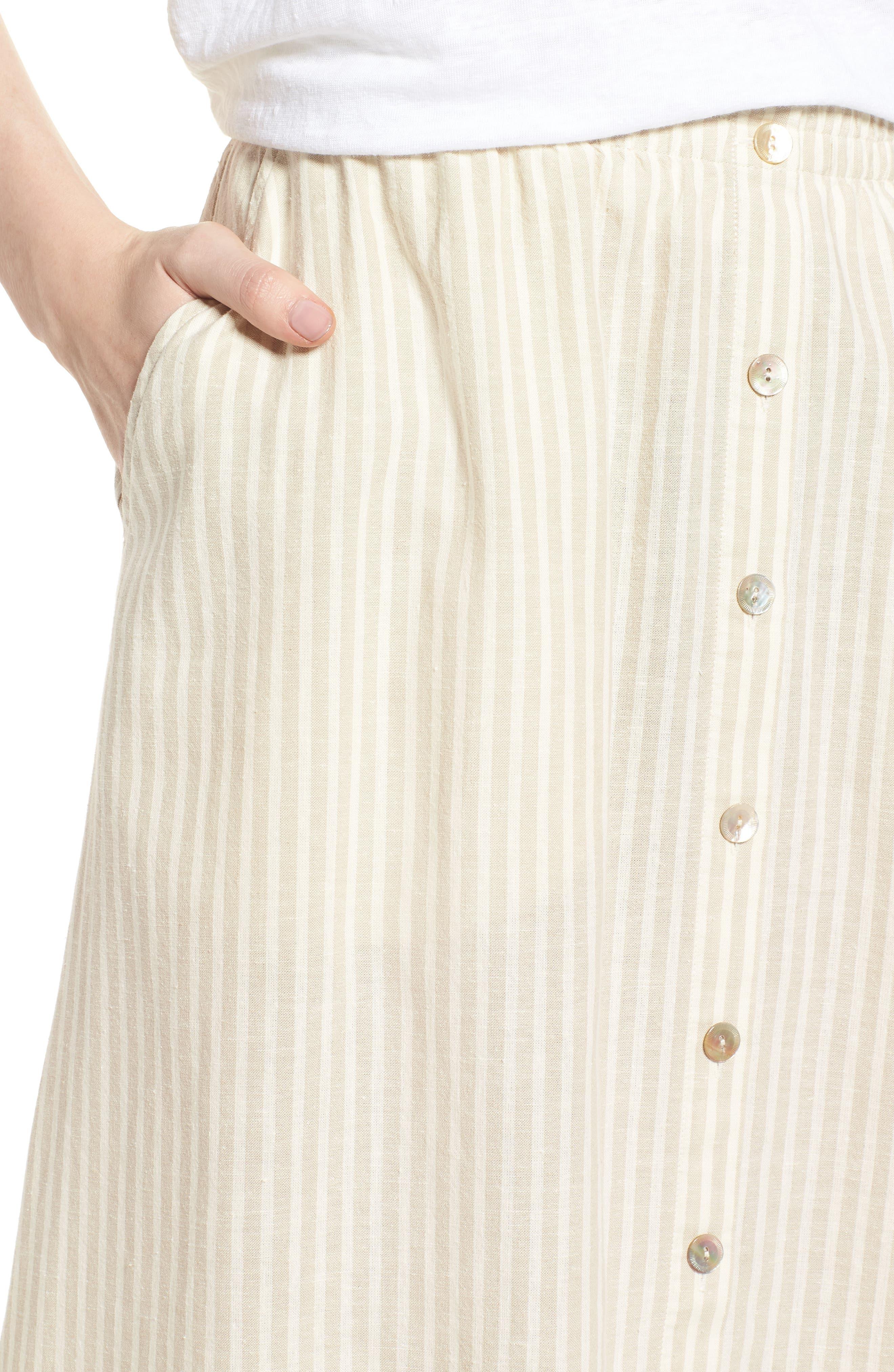 EILEEN FISHER,                             Stripe Hemp & Organic Cotton Midi Skirt,                             Alternate thumbnail 4, color,                             257