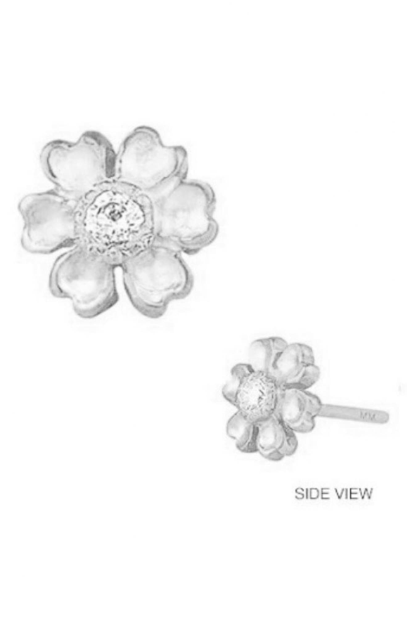 MINI MINI JEWELS Diamond Icon Flower Earring, Main, color, WHITE GOLD