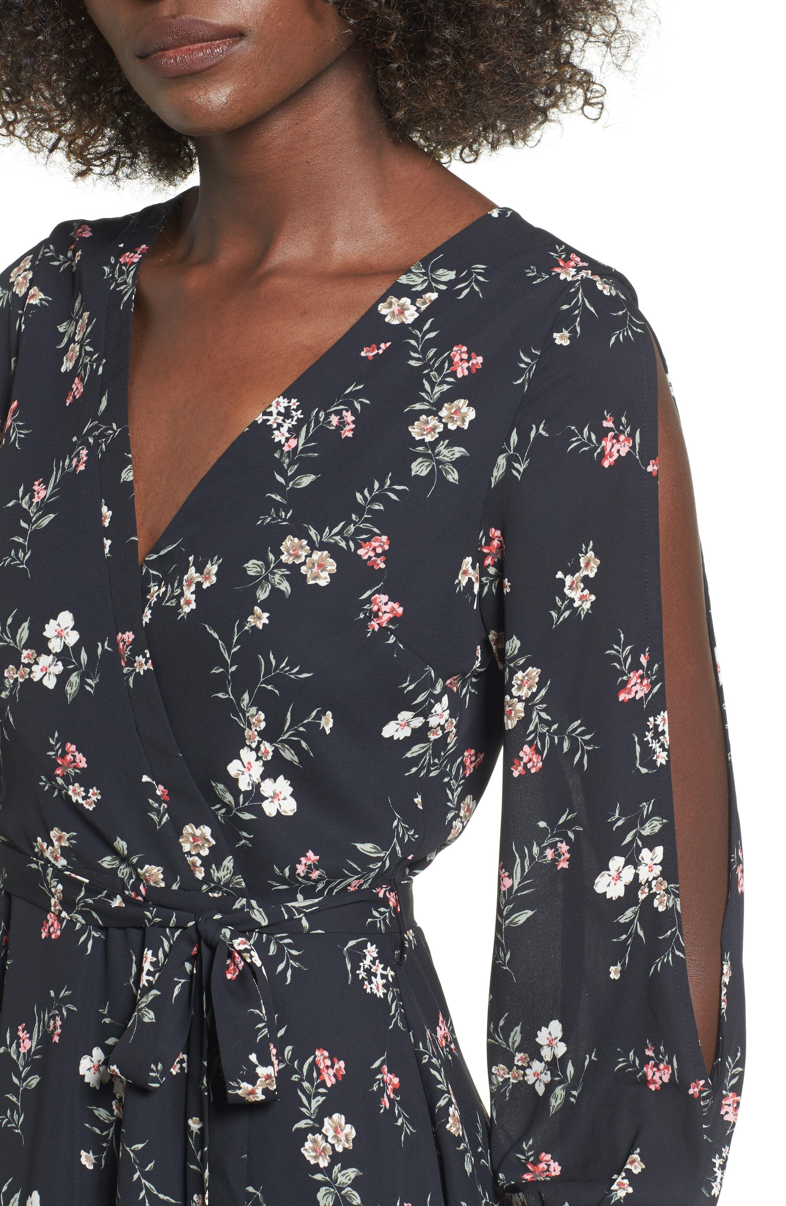 Cold Shoulder Wrap Style Dress,                             Alternate thumbnail 4, color,                             001