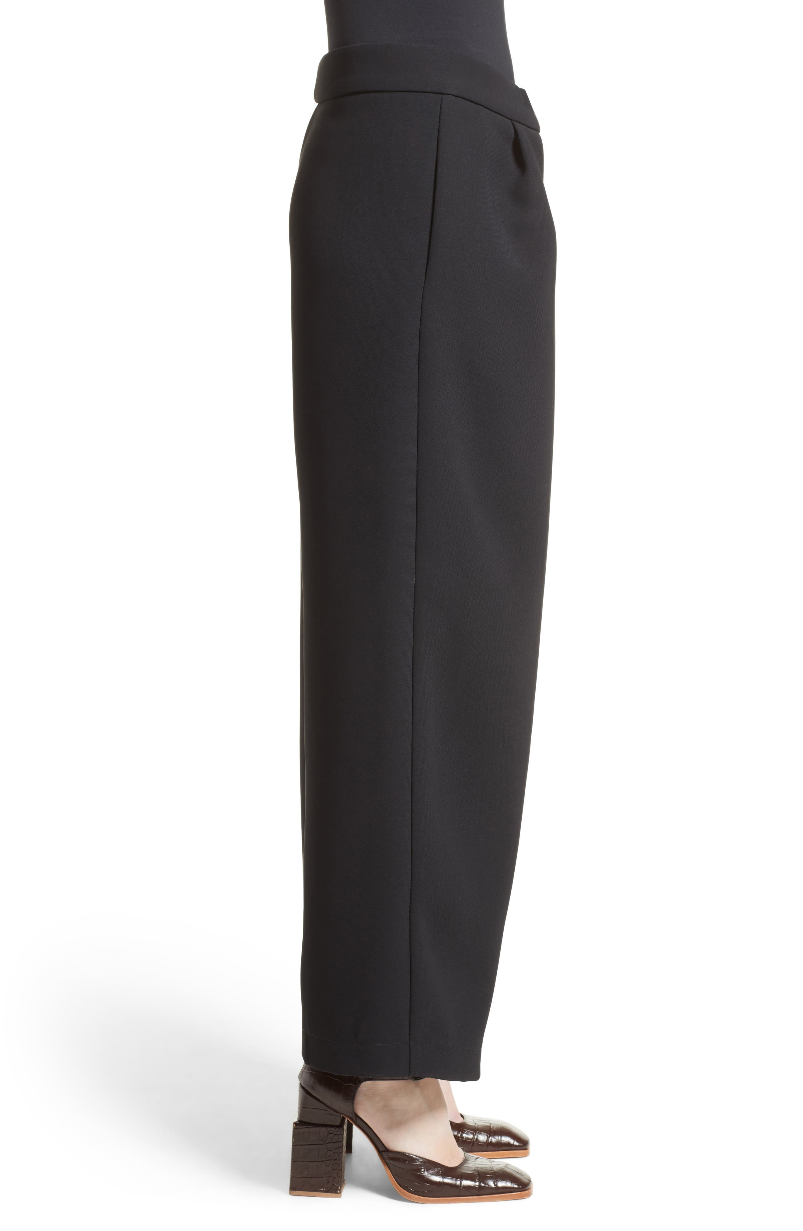 Patch Detail Wide Leg Pants,                             Alternate thumbnail 3, color,                             001