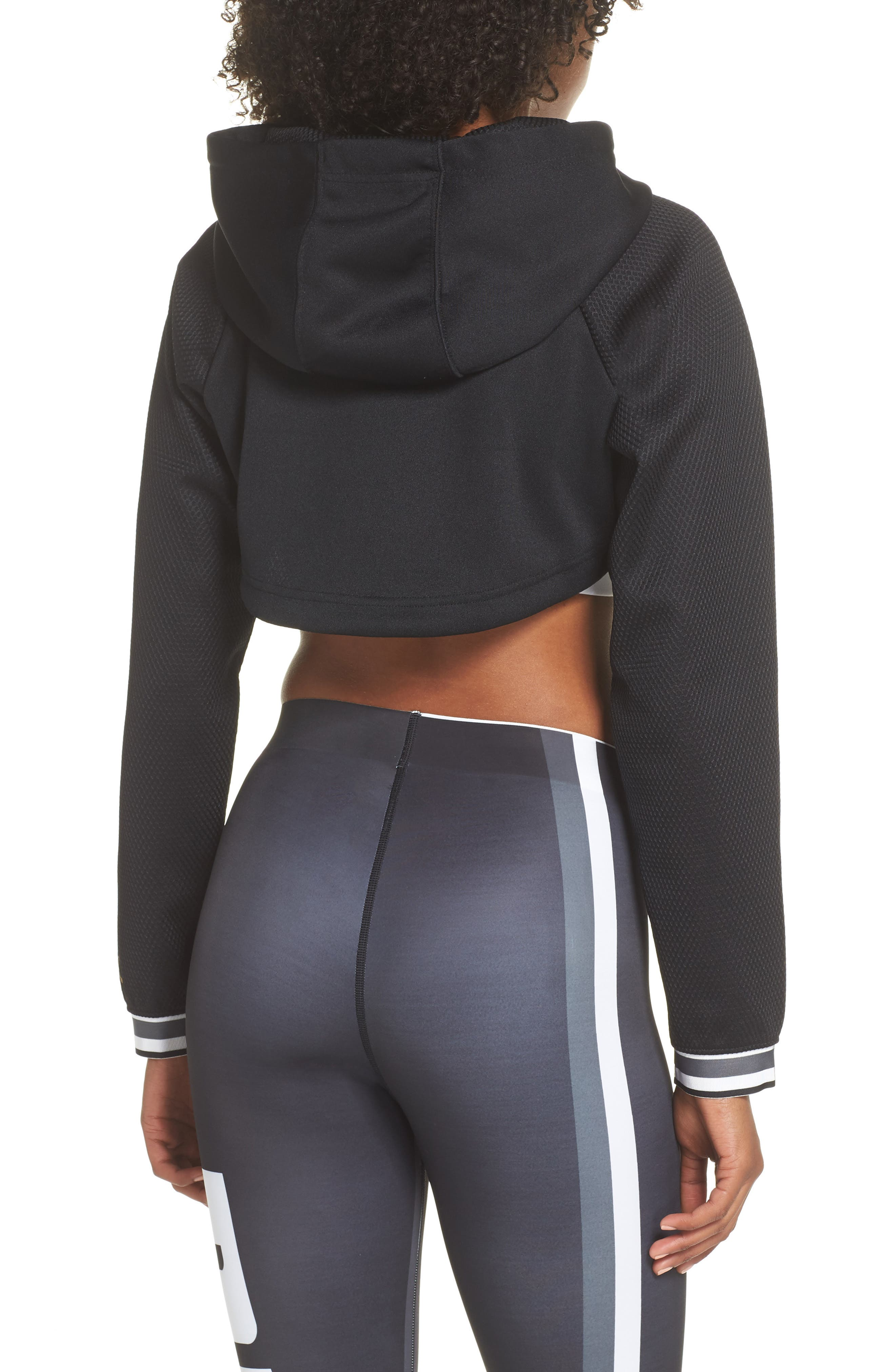 Varsity Cropped Cover-Up Hoodie,                             Alternate thumbnail 2, color,                             001