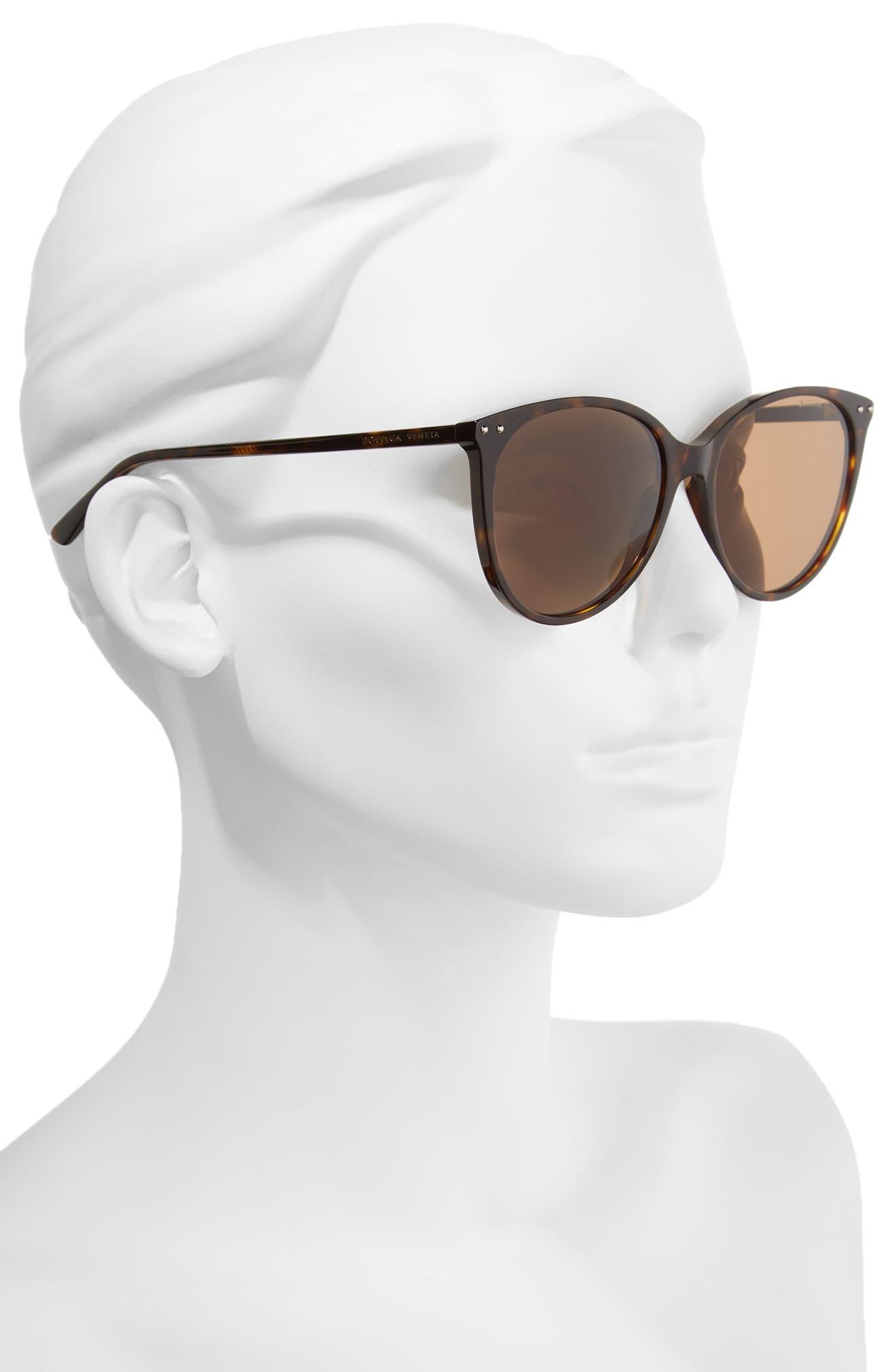 55mm Cat Eye Sunglasses,                             Alternate thumbnail 2, color,                             DARK HAVANA