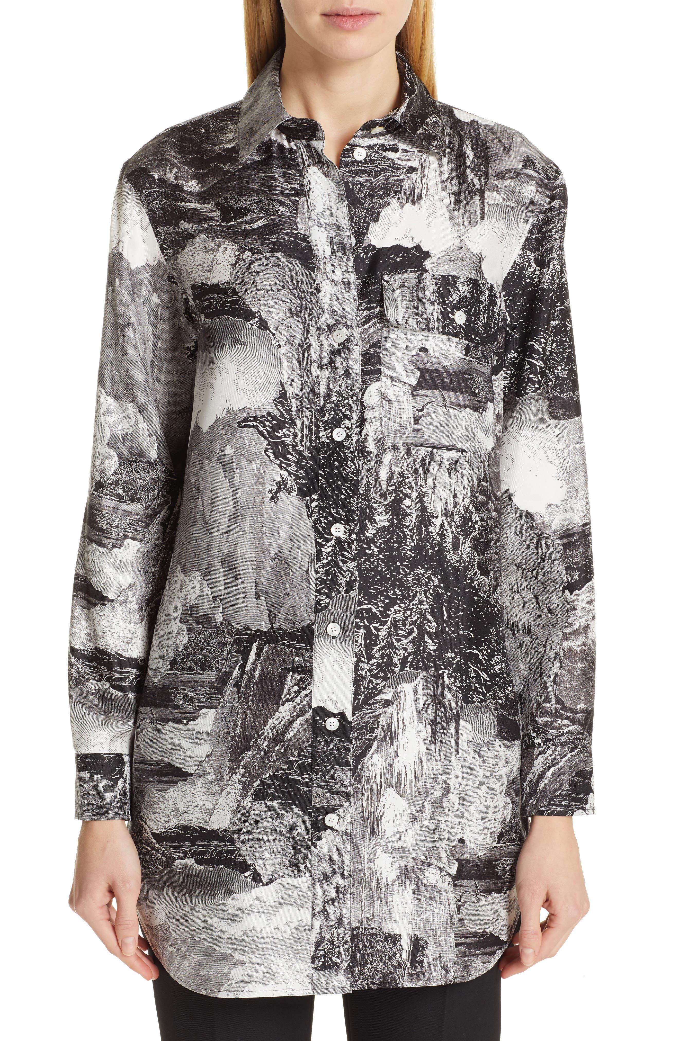 Chava Print Silk Shirt,                             Main thumbnail 1, color,                             BLACK