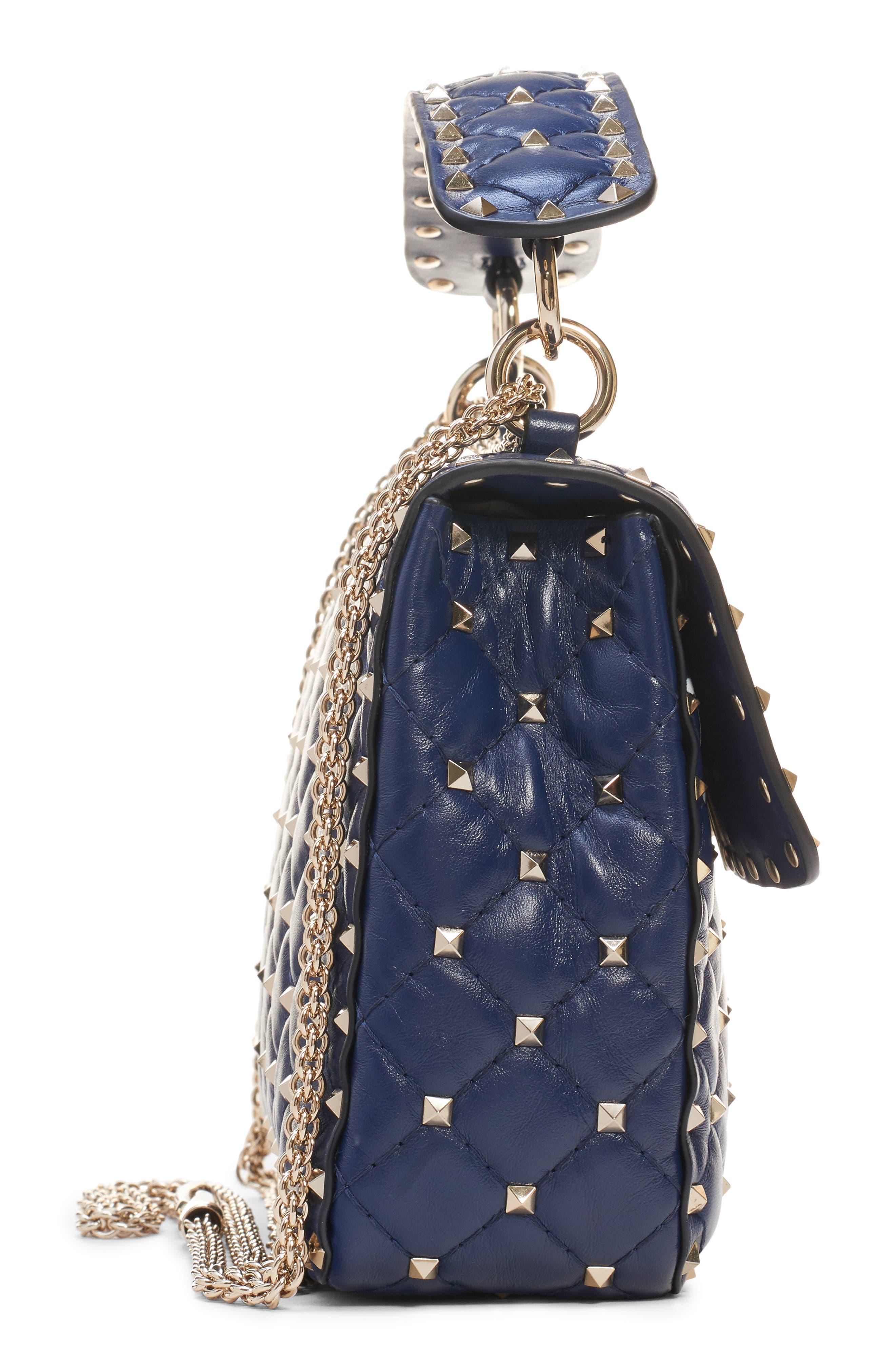 Medium Spike.It VLTN Logo Leather Shoulder Bag,                             Alternate thumbnail 4, color,                             PURE BLUE/ BIANCO OTTICO