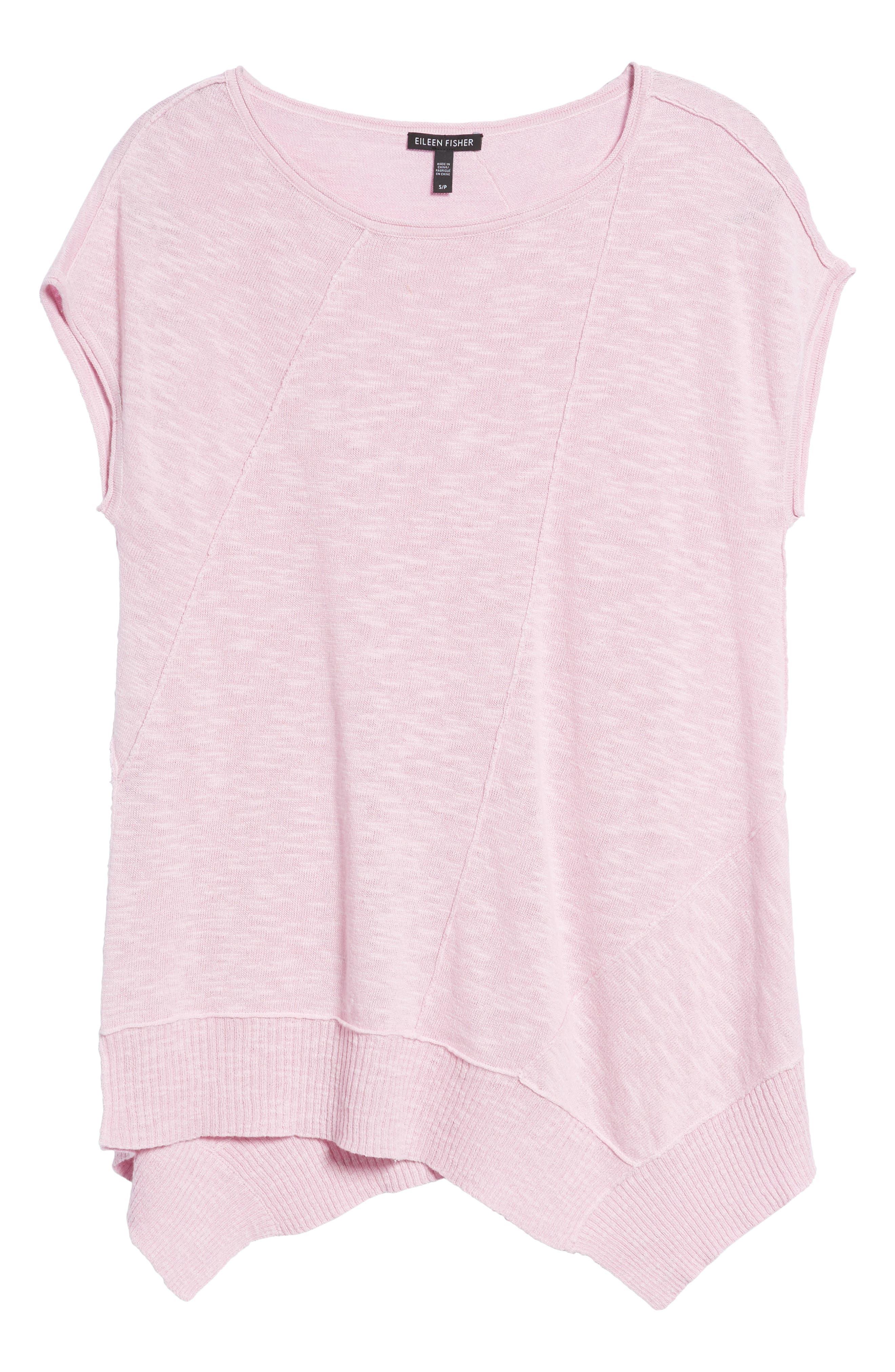 Cap Sleeve Organic Linen & Cotton Scoop Neck Top,                             Alternate thumbnail 78, color,