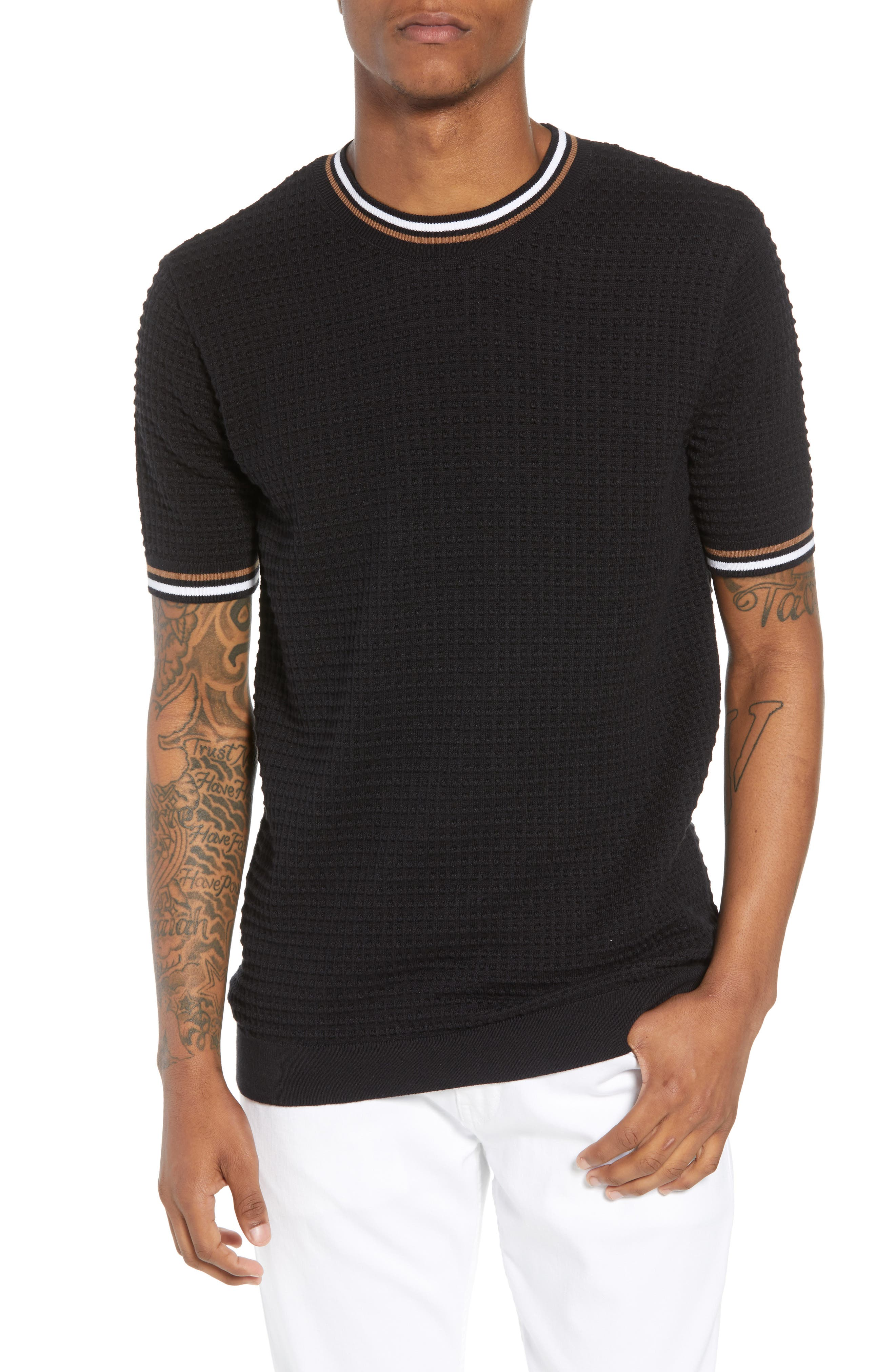 Slim Fit Textured Short Sleeve Sweater,                         Main,                         color, 001