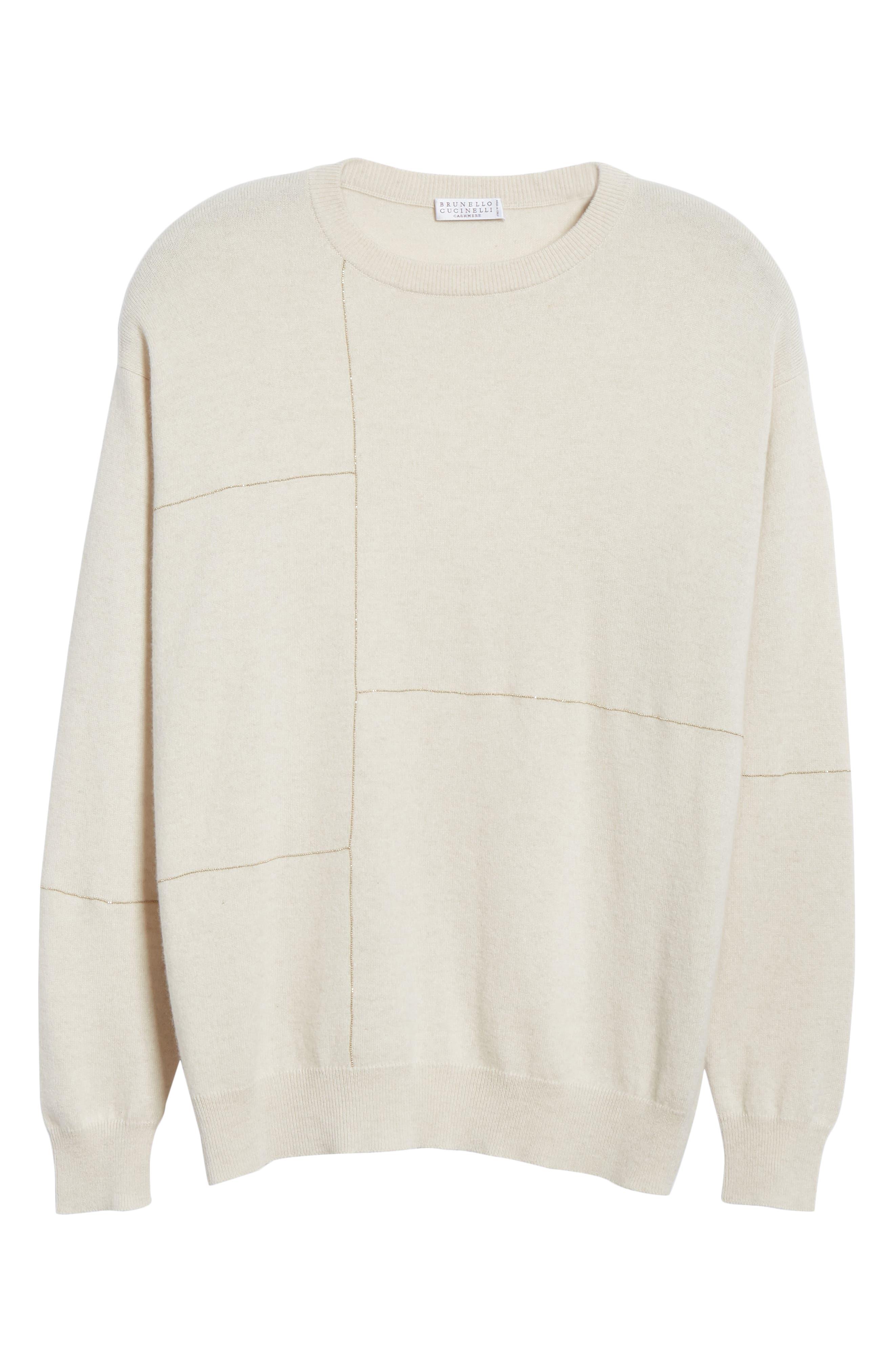 Monili Patchwork Cashmere Sweater,                             Alternate thumbnail 6, color,                             BUTTERMILK