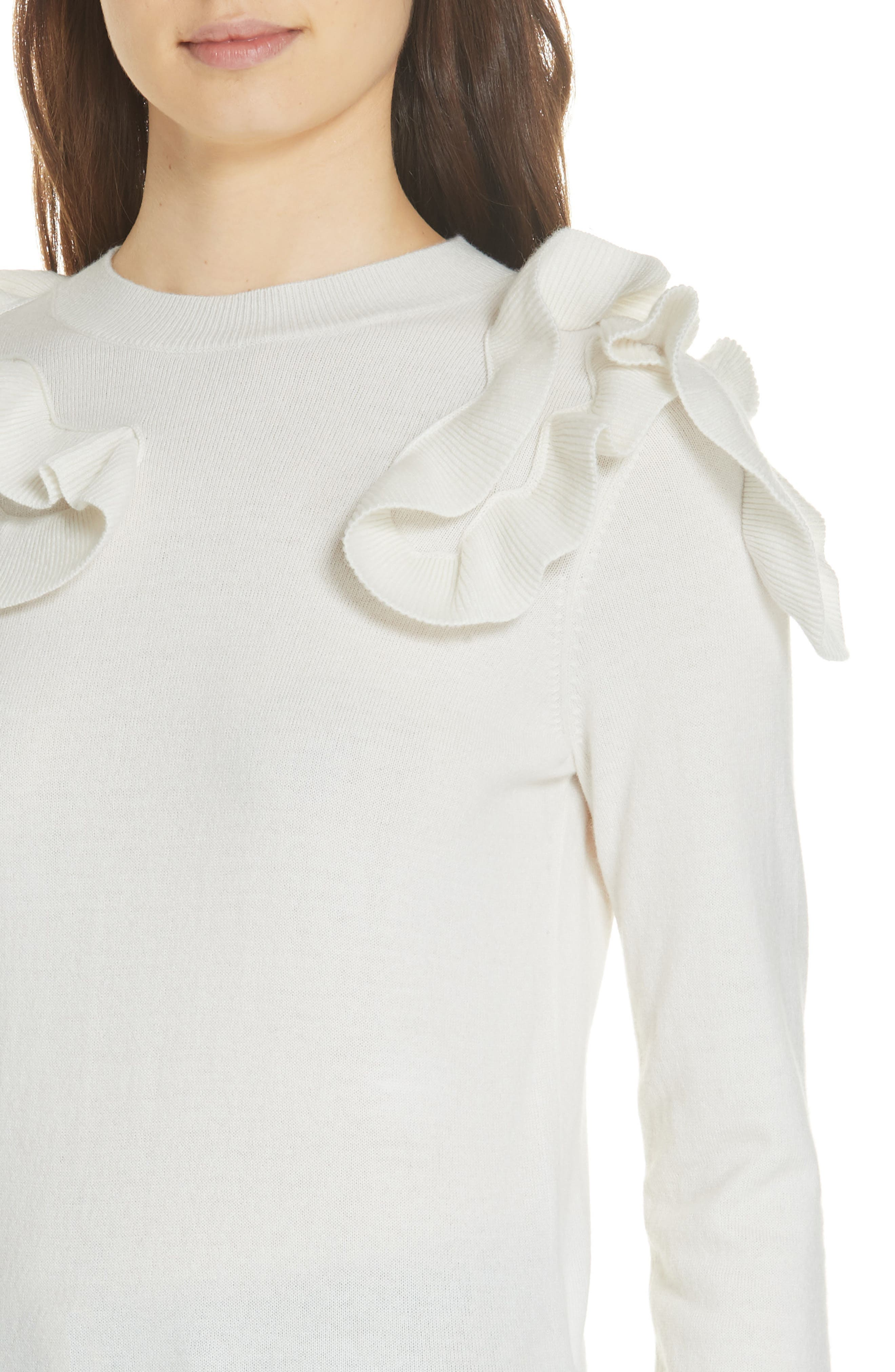 Pallege Frill Sleeve Wool Blend Sweater,                             Alternate thumbnail 4, color,                             905