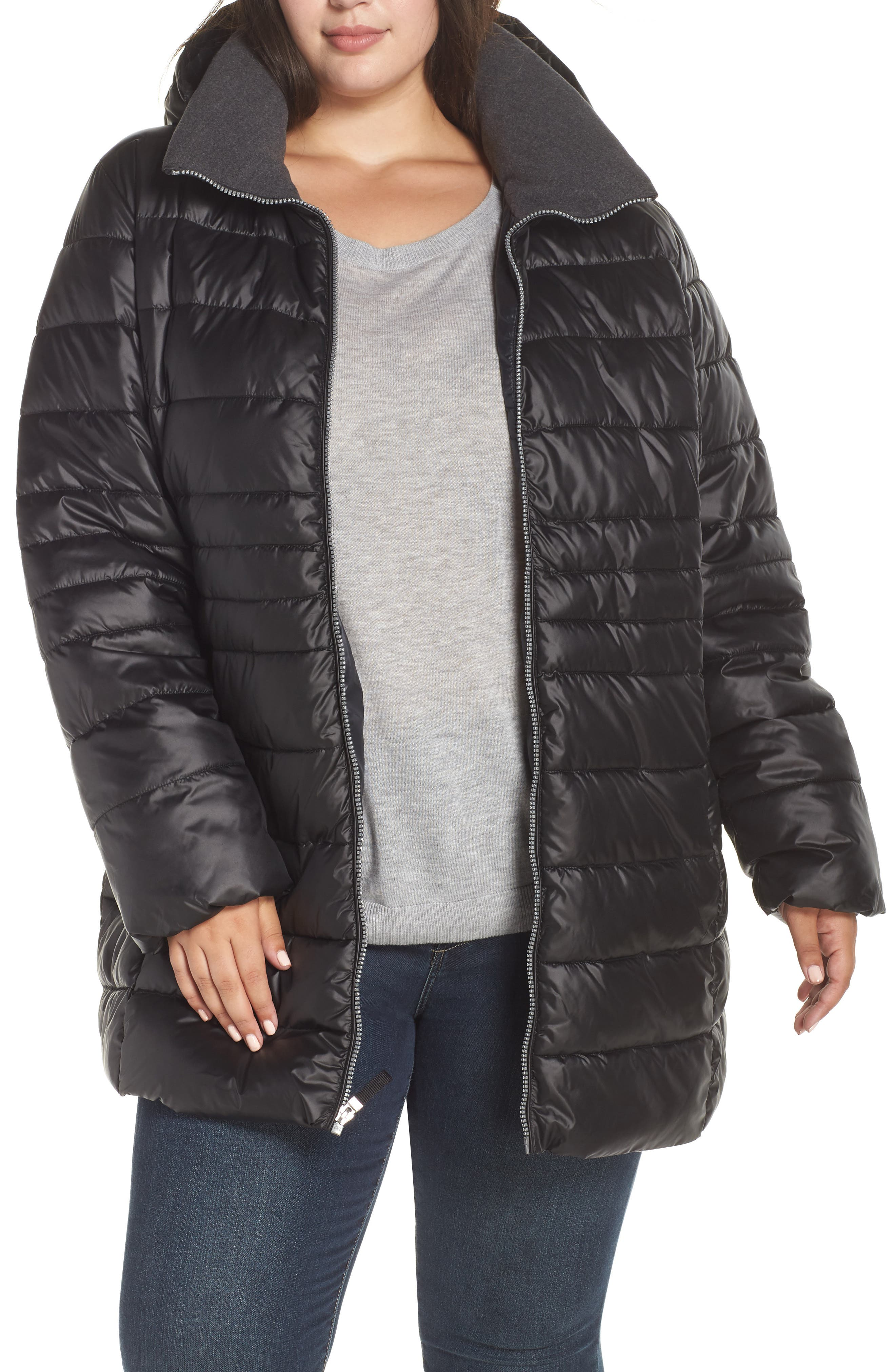 Plus Size Marc New York Removable Hood Puffer Coat