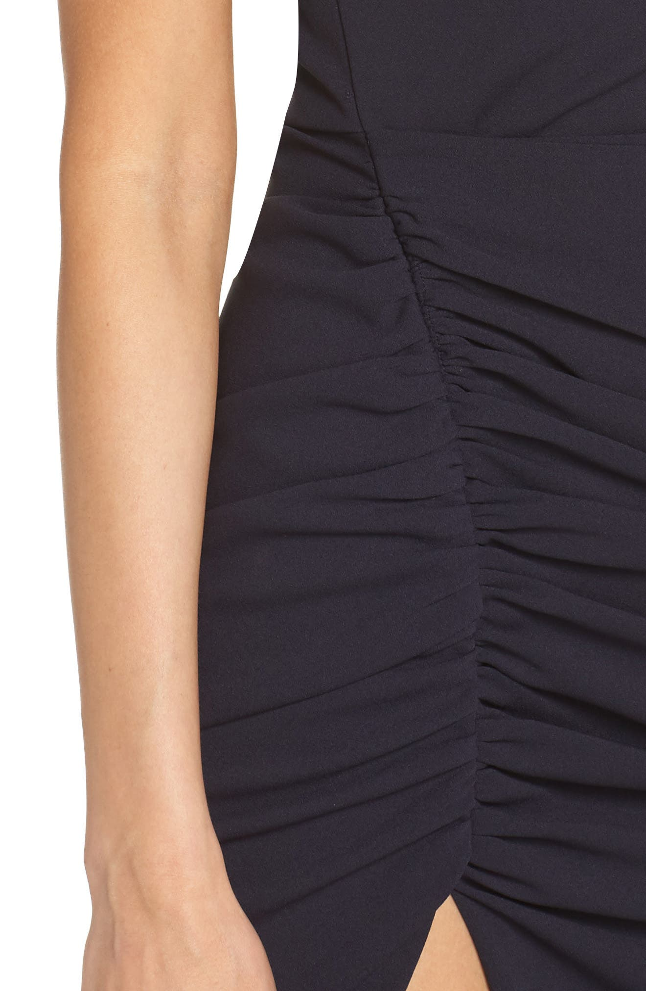 One-Shoulder Crepe Dress,                             Alternate thumbnail 4, color,                             NAVY