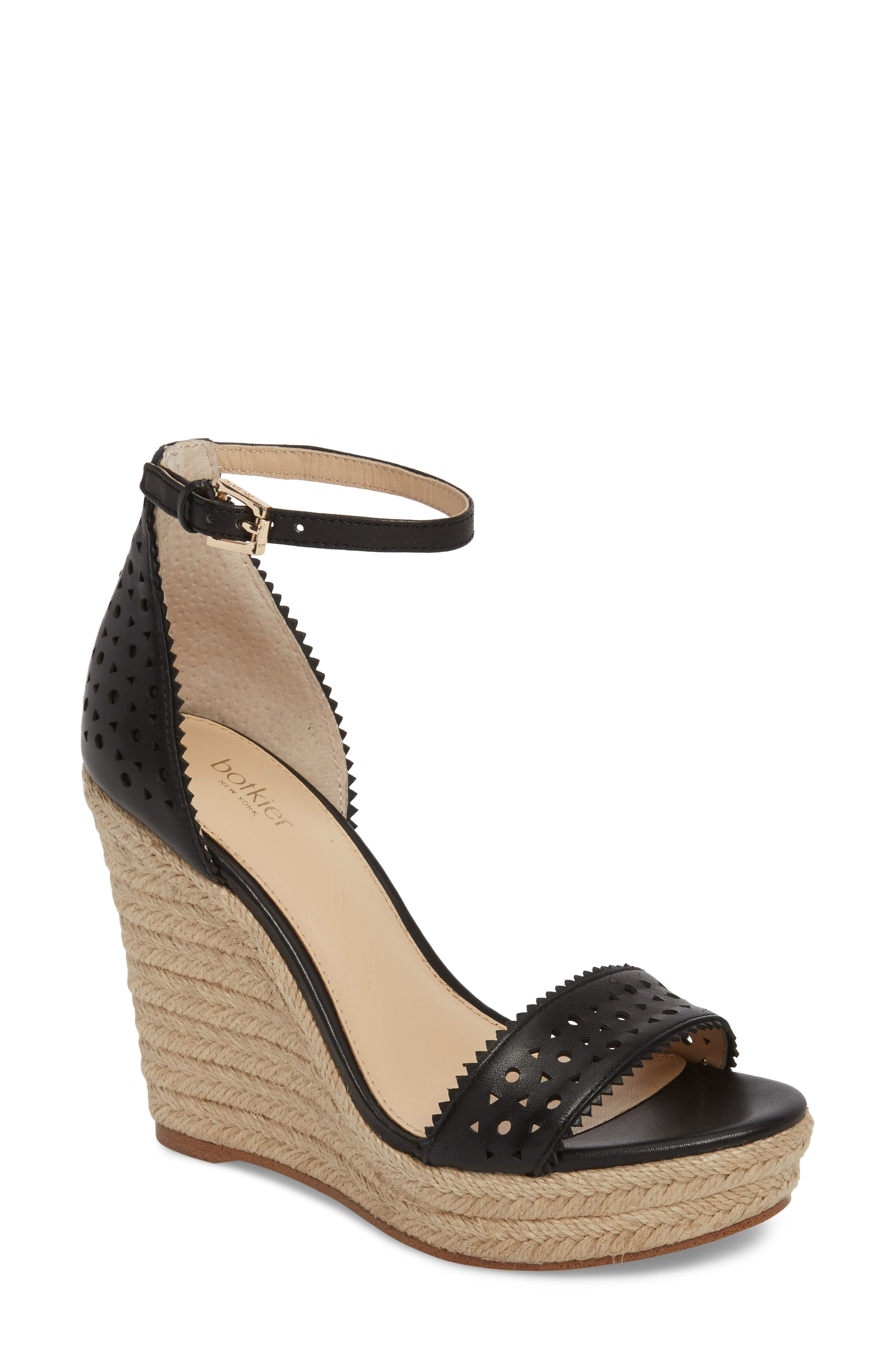 Jamie Espadrille Wedge Sandal,                         Main,                         color, BLACK LEATHER
