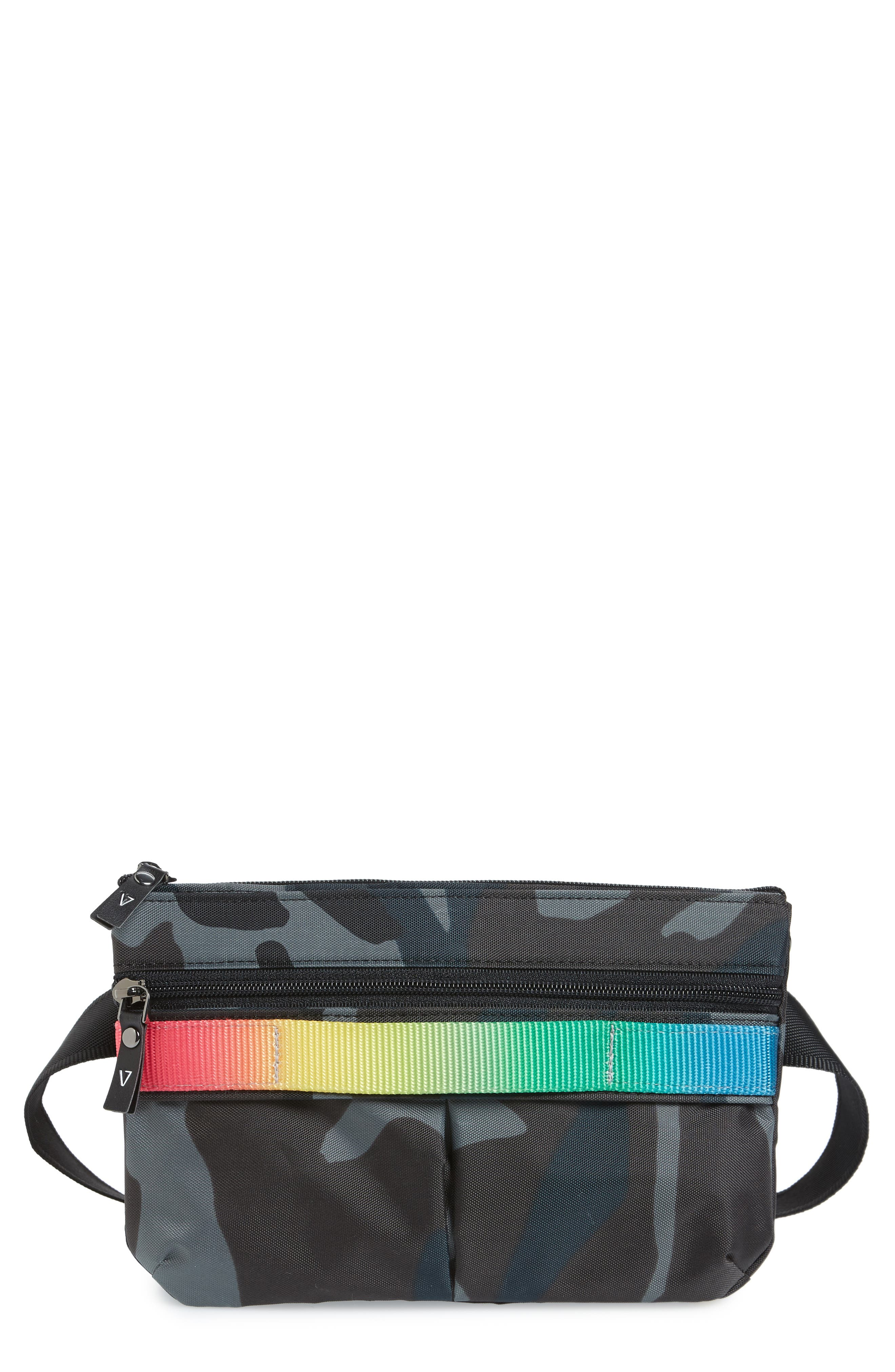 ANDI Go Camo Convertible Belt Bag - Blue in Navy Camo/ Rainbow